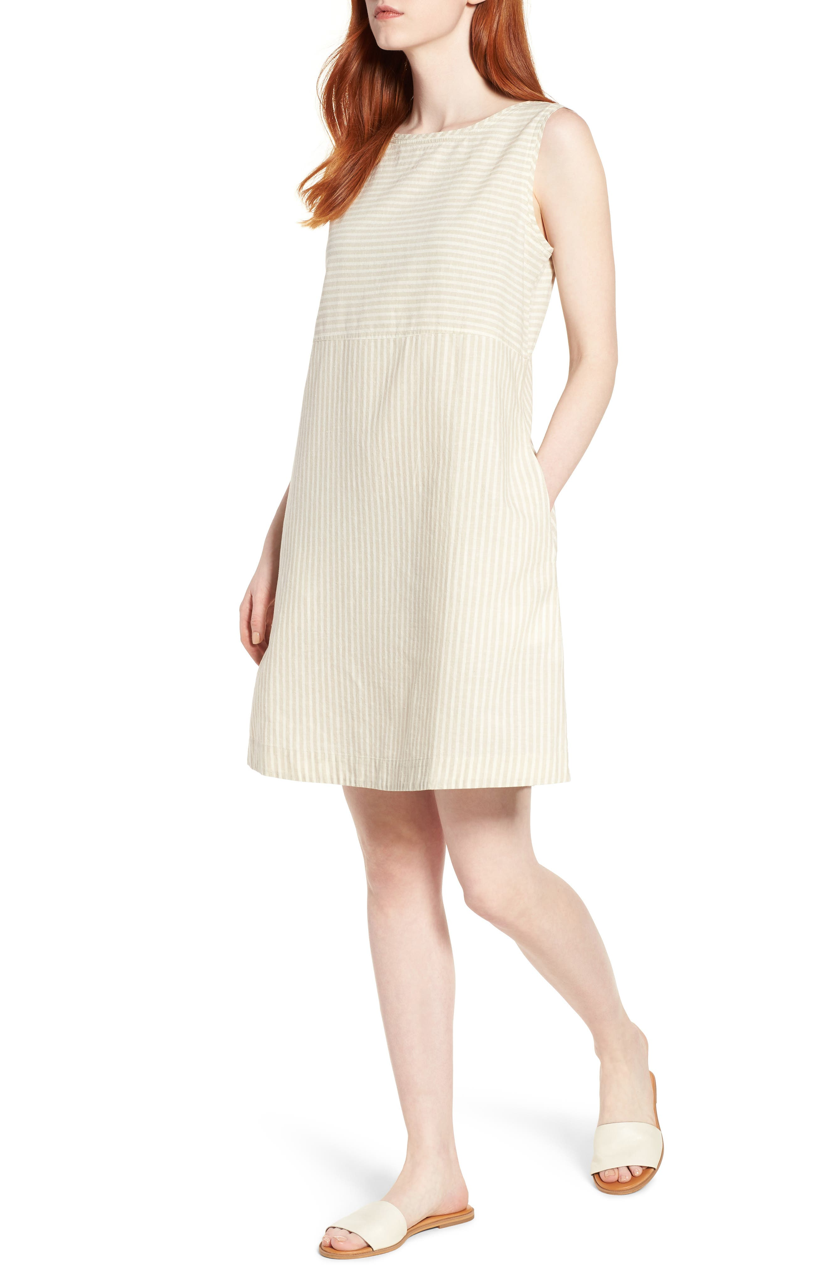 Eileen Fisher Varied Stripe Hemp & Organic Cotton Shift Dress (Regular & Petite)
