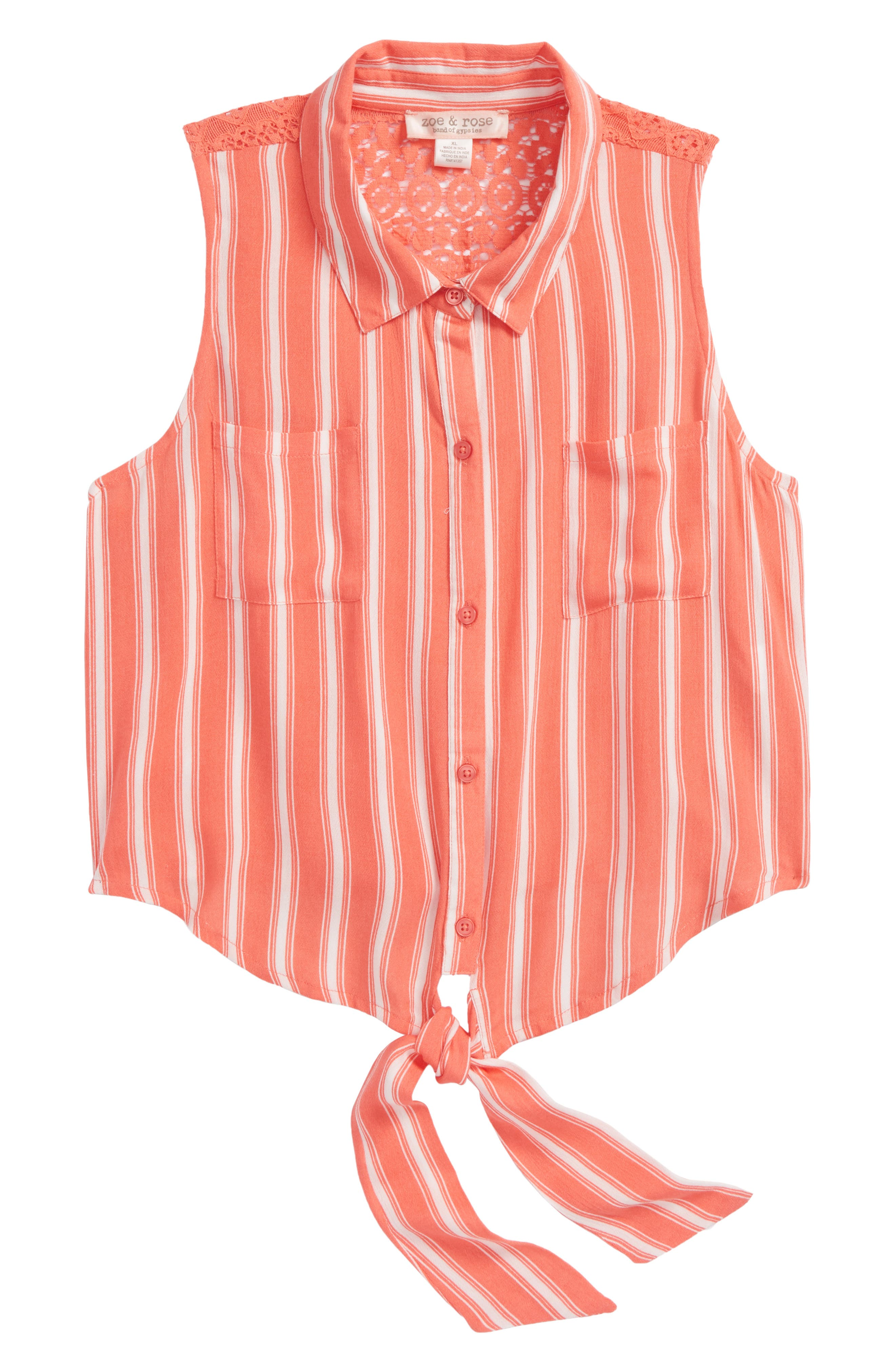 Stripe Tie Front Top,                             Main thumbnail 1, color,                             Coral/ Ivory