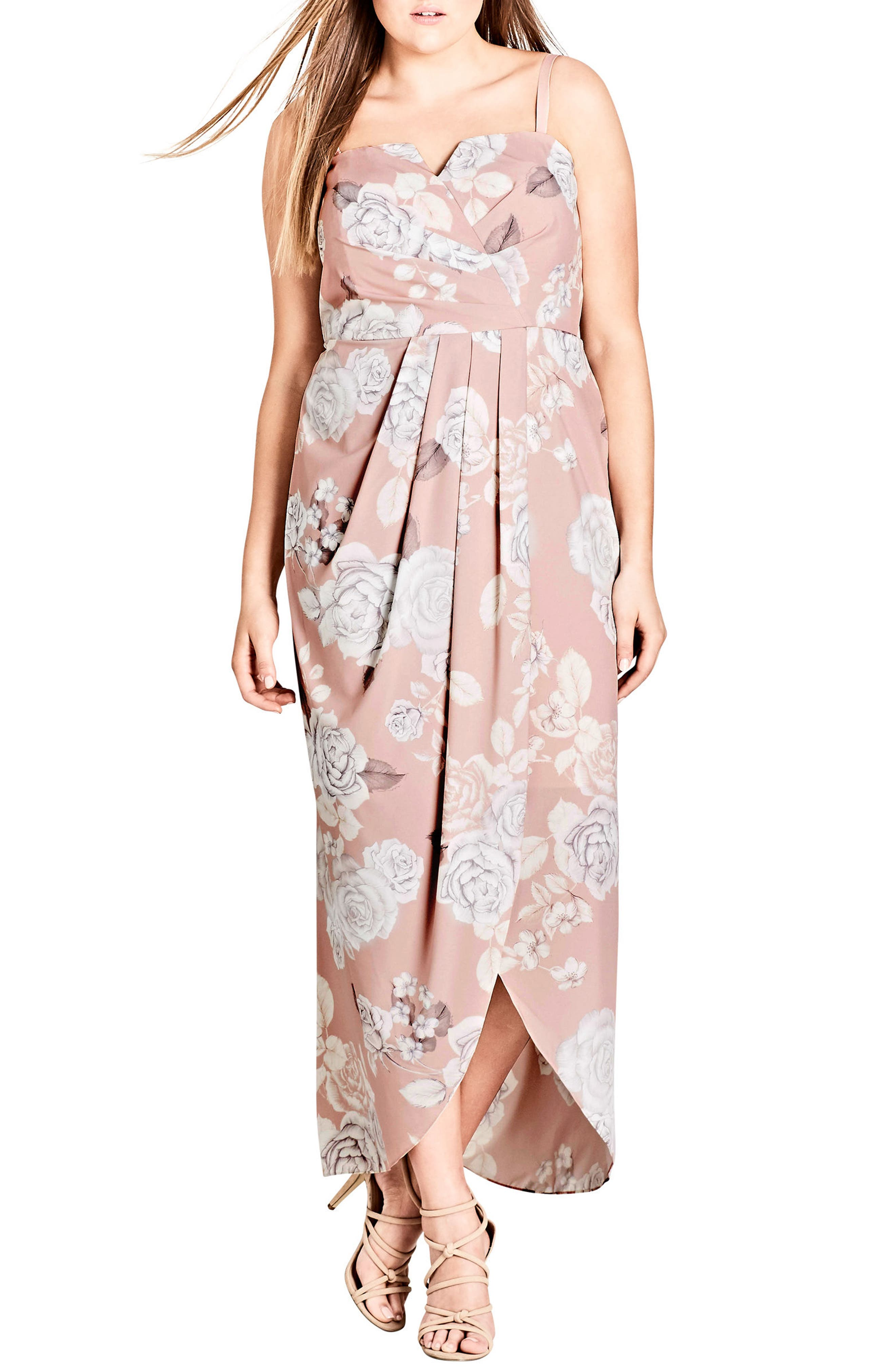 Whimsical High/Low Maxi Dress,                             Main thumbnail 1, color,                             Soft Whimsy