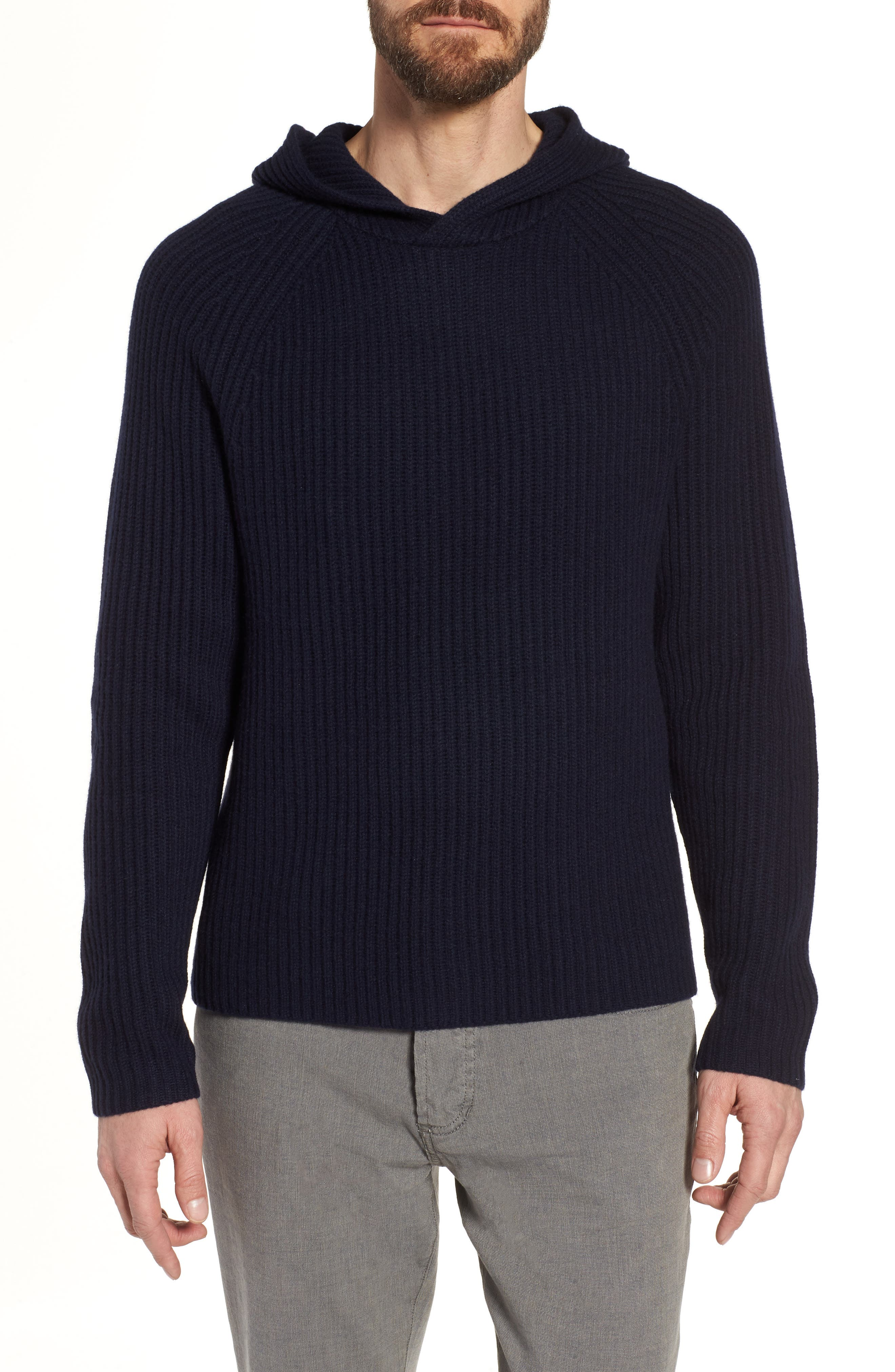 Regular Fit Rib Knit Cashmere Hoodie,                         Main,                         color, Blue