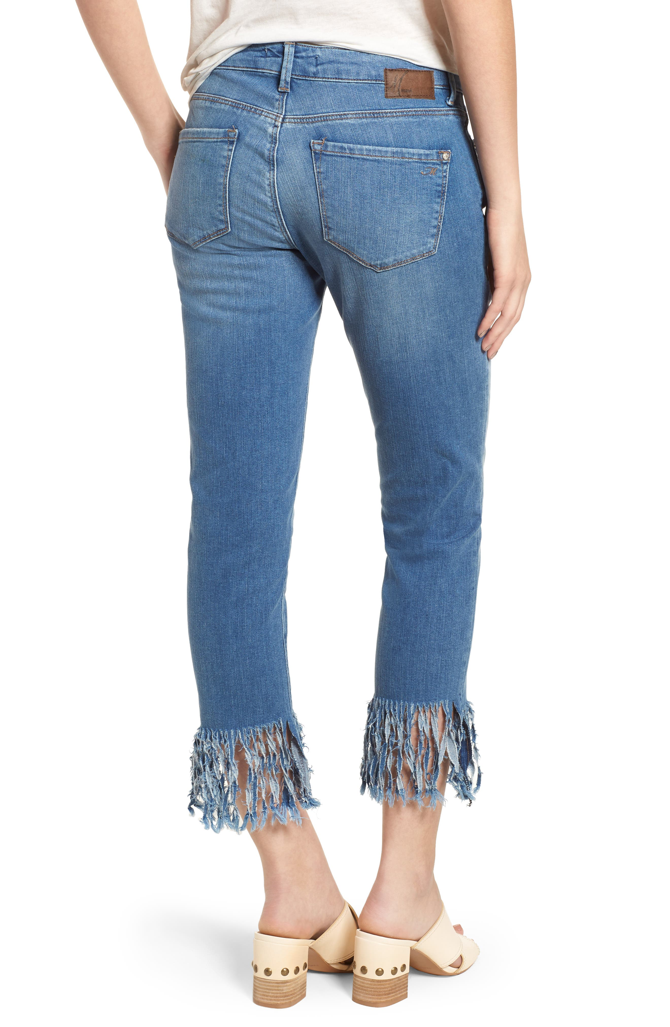 Kerry Fringe Hem Ankle Jeans,                             Alternate thumbnail 2, color,                             Distressed Vintage