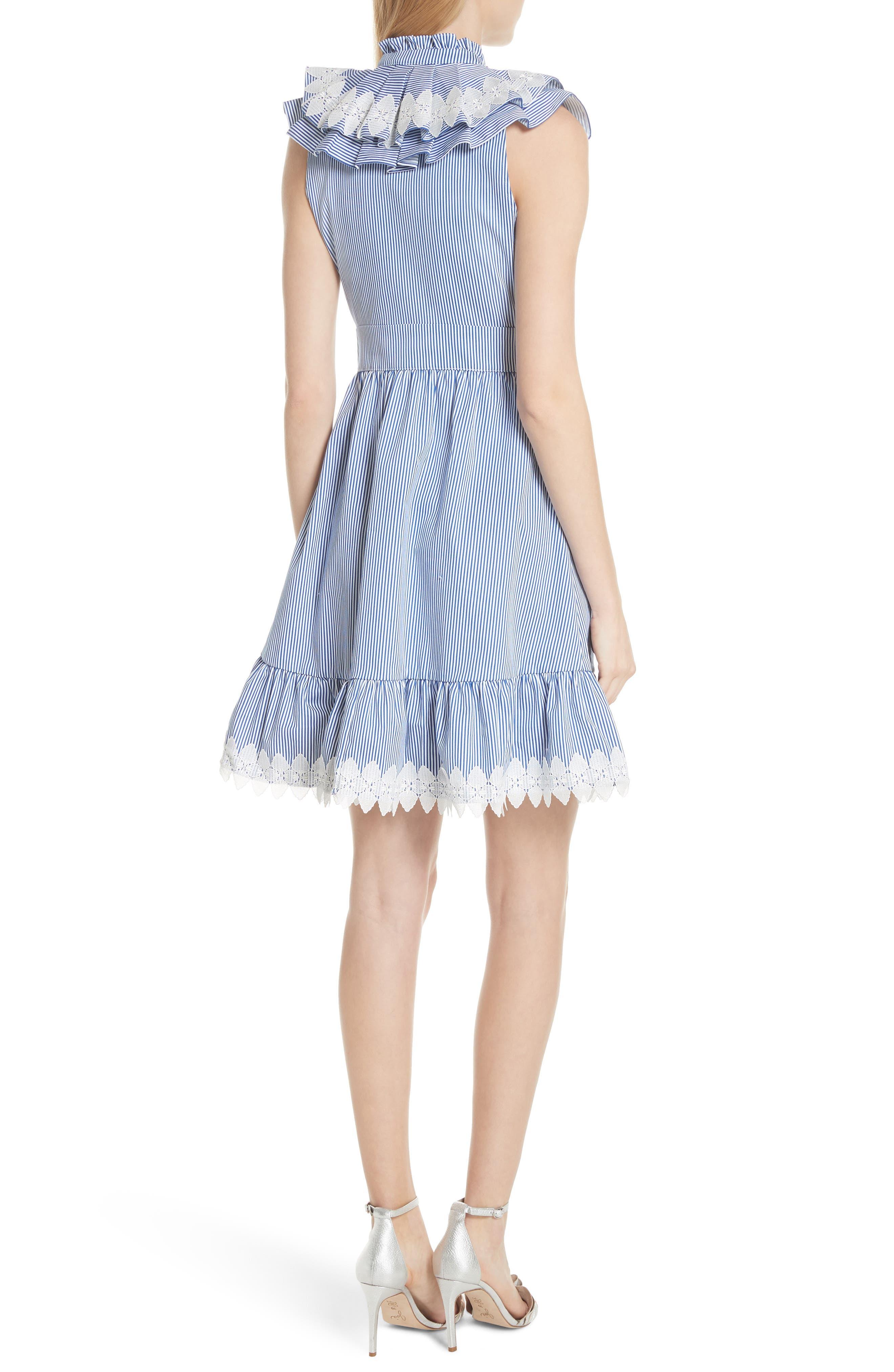 Stripe Frill Bib Fit & Flare Dress,                             Alternate thumbnail 2, color,                             White