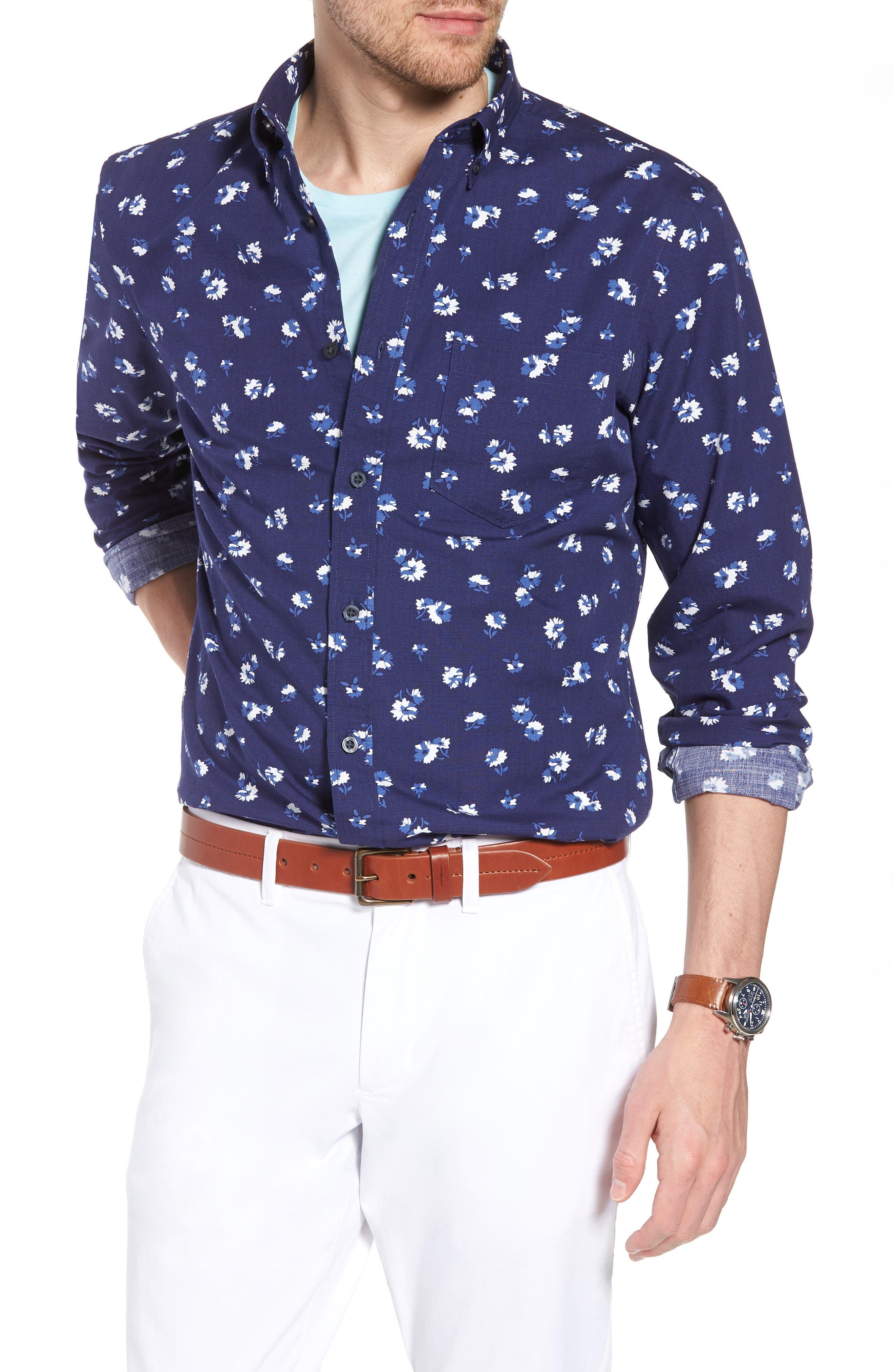 Trim Fit Floral Sport Shirt,                         Main,                         color, Navy Iris Aster Flowers