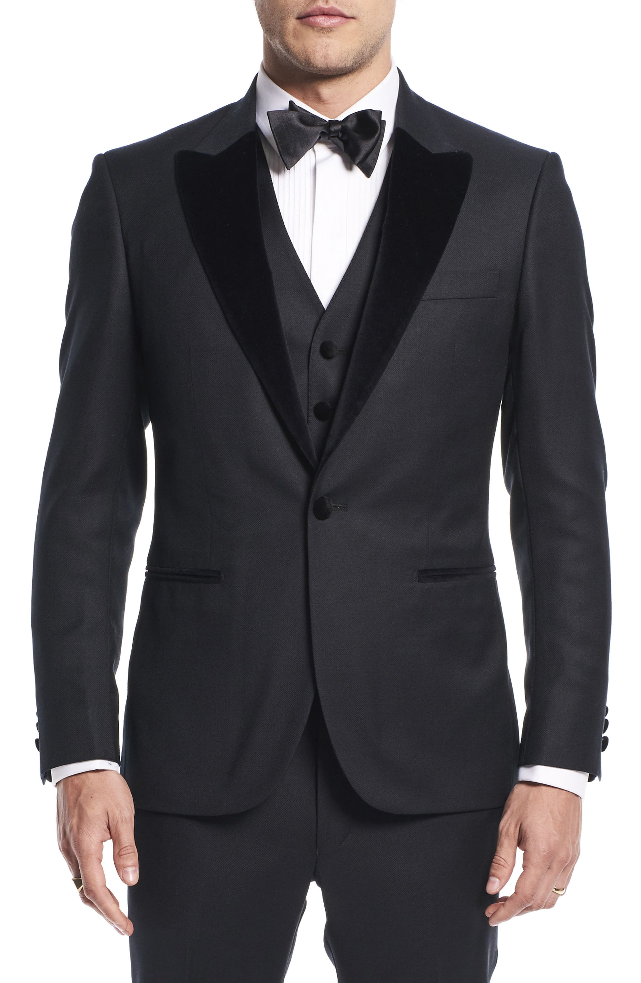 by Ilaria Urbinati Teddy Slim Fit Three-Piece Wool Tuxedo,                             Alternate thumbnail 4, color,                             Textured Black
