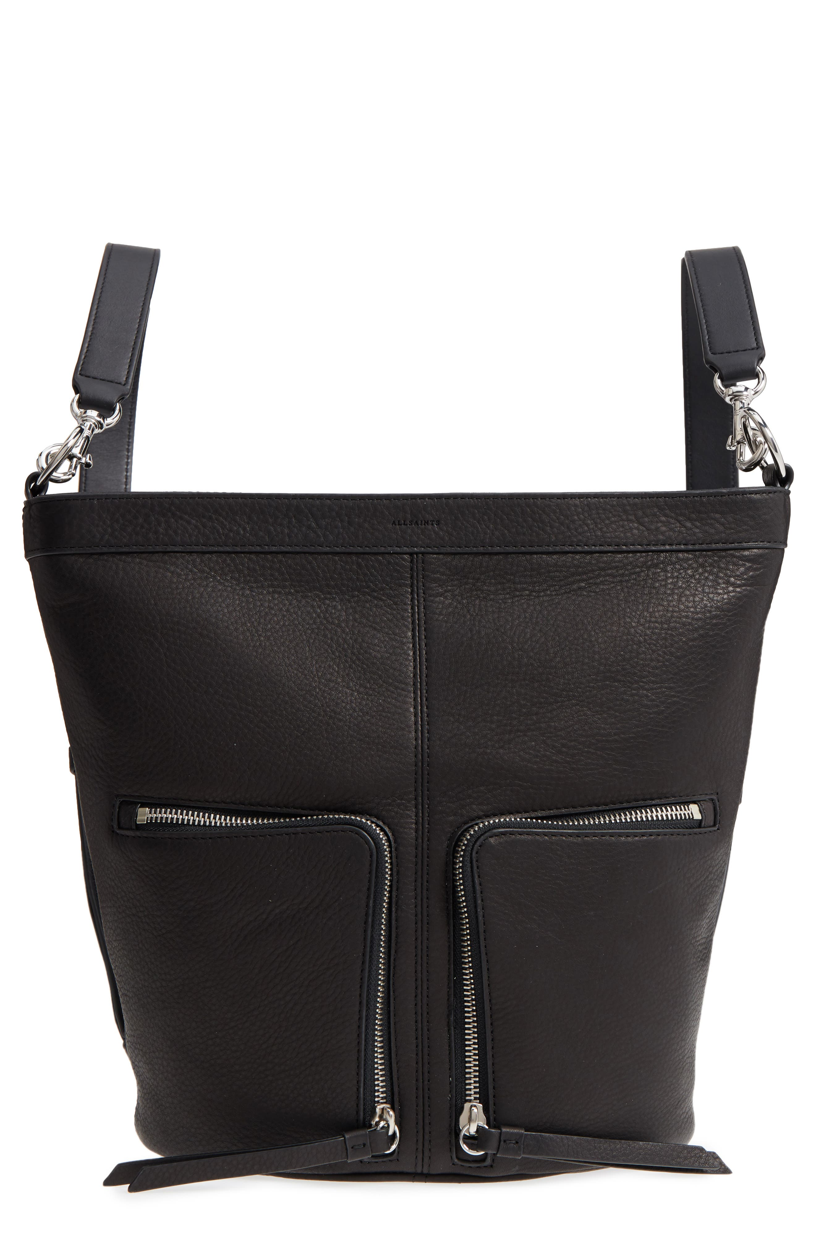 FETCH SMALL LEATHER BACKPACK - BLACK