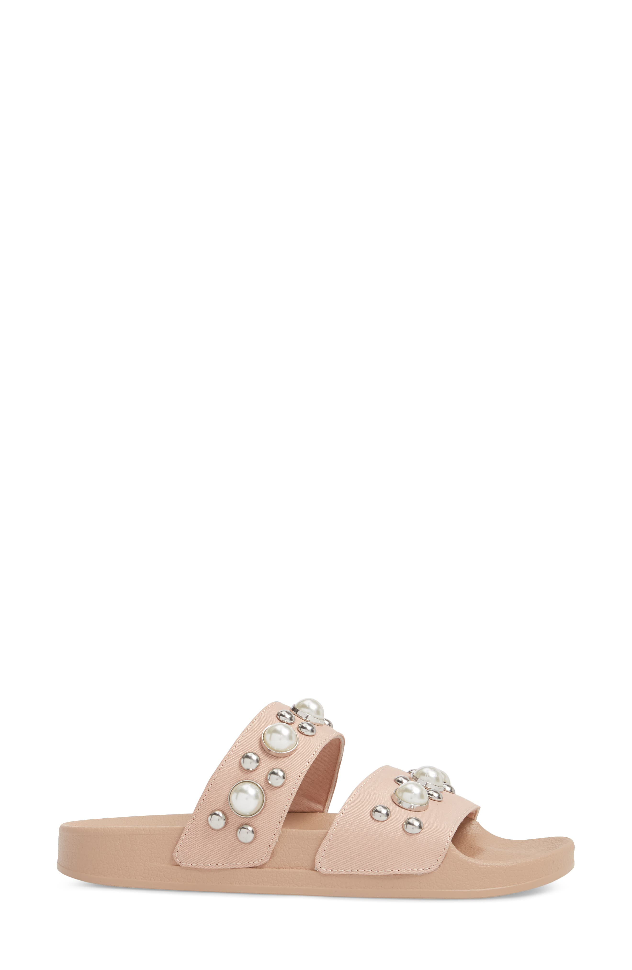 Polite Embellished Slide Sandal,                             Alternate thumbnail 3, color,                             Blush