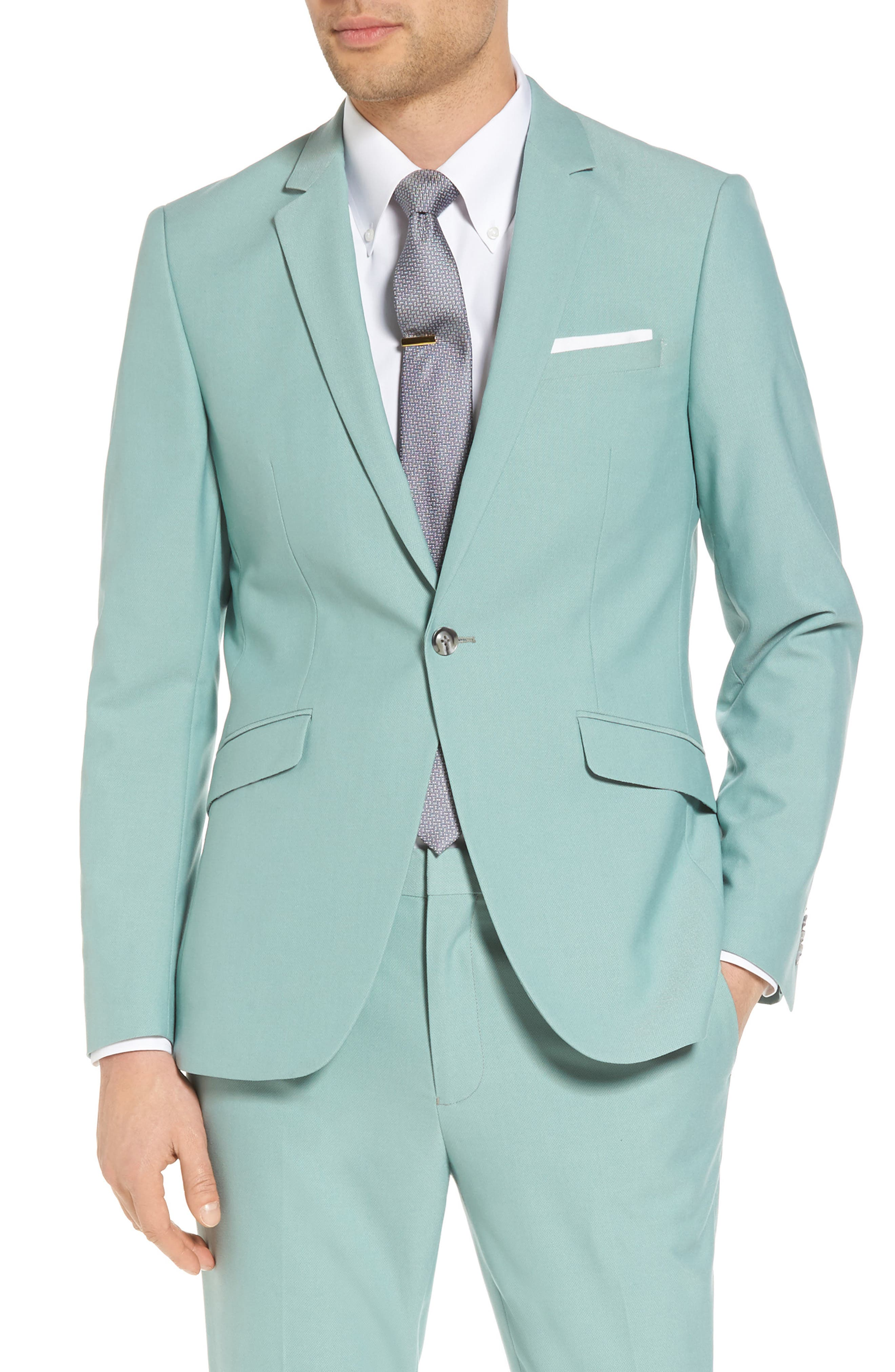 Skinny Fit Suit Jacket,                         Main,                         color, Green