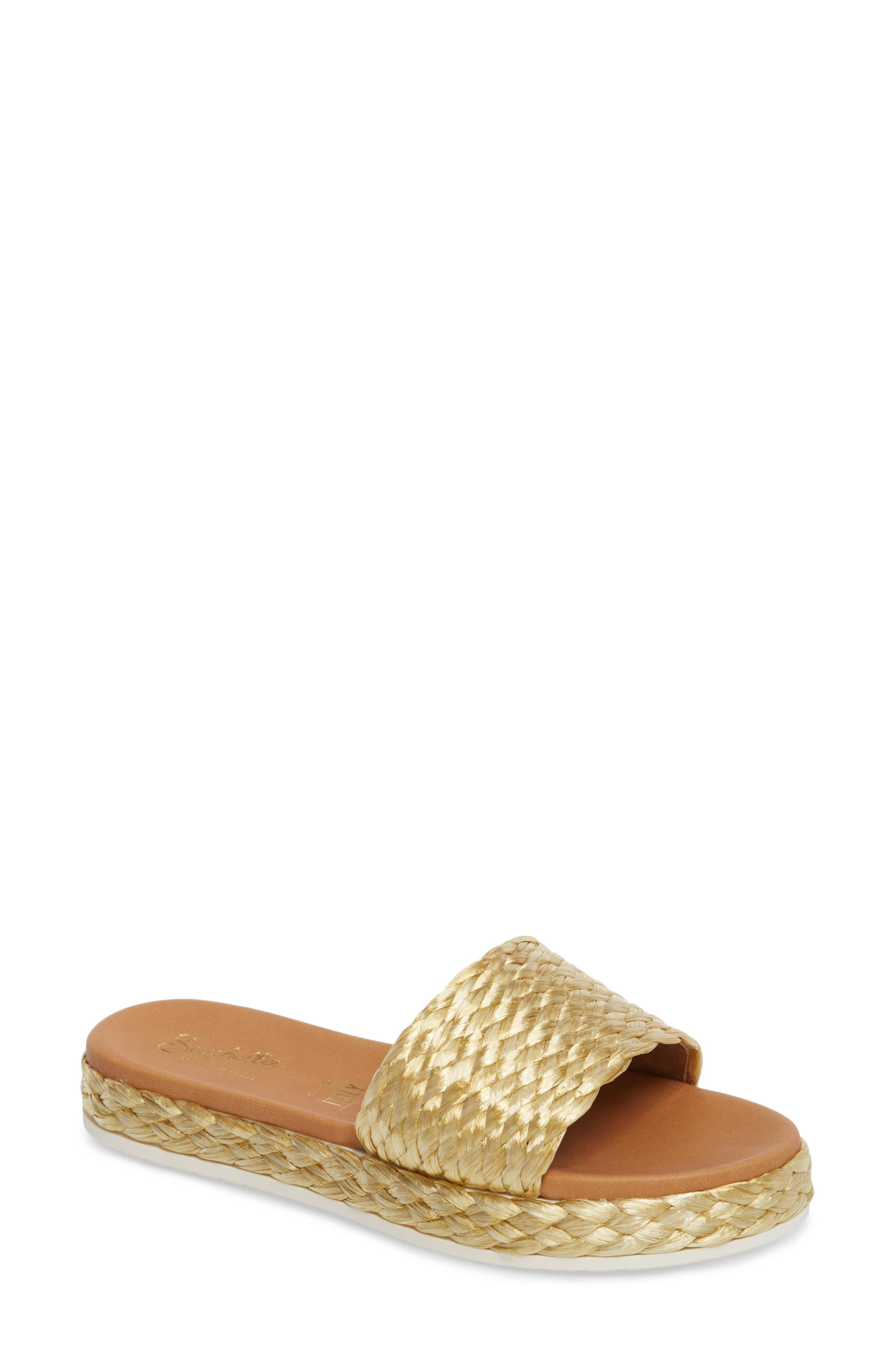 Quiet the Mind Slide Sandal,                             Main thumbnail 1, color,                             Yellow Fabric
