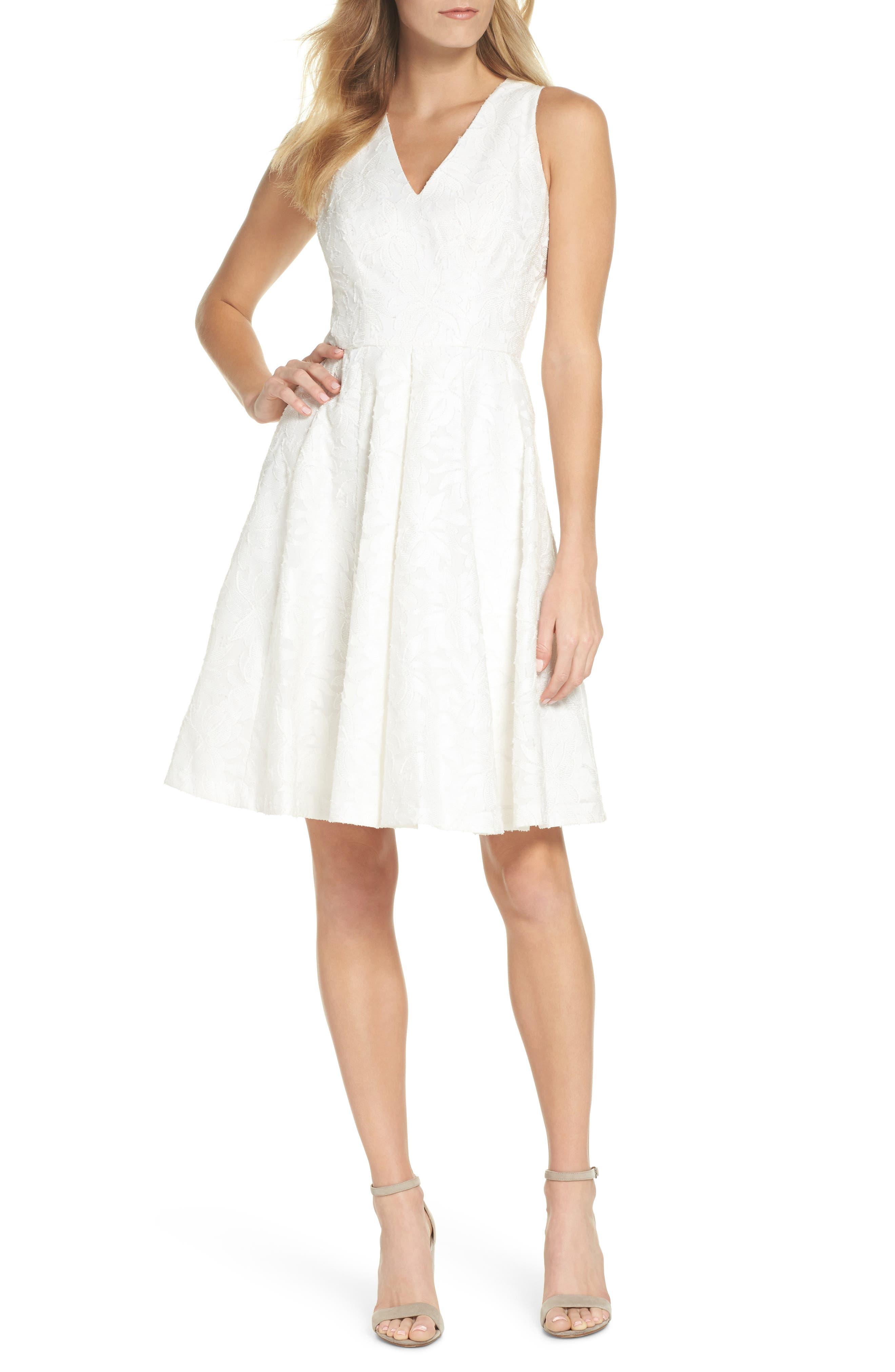 Floral Burnout Fit & Flare Dress,                         Main,                         color, White