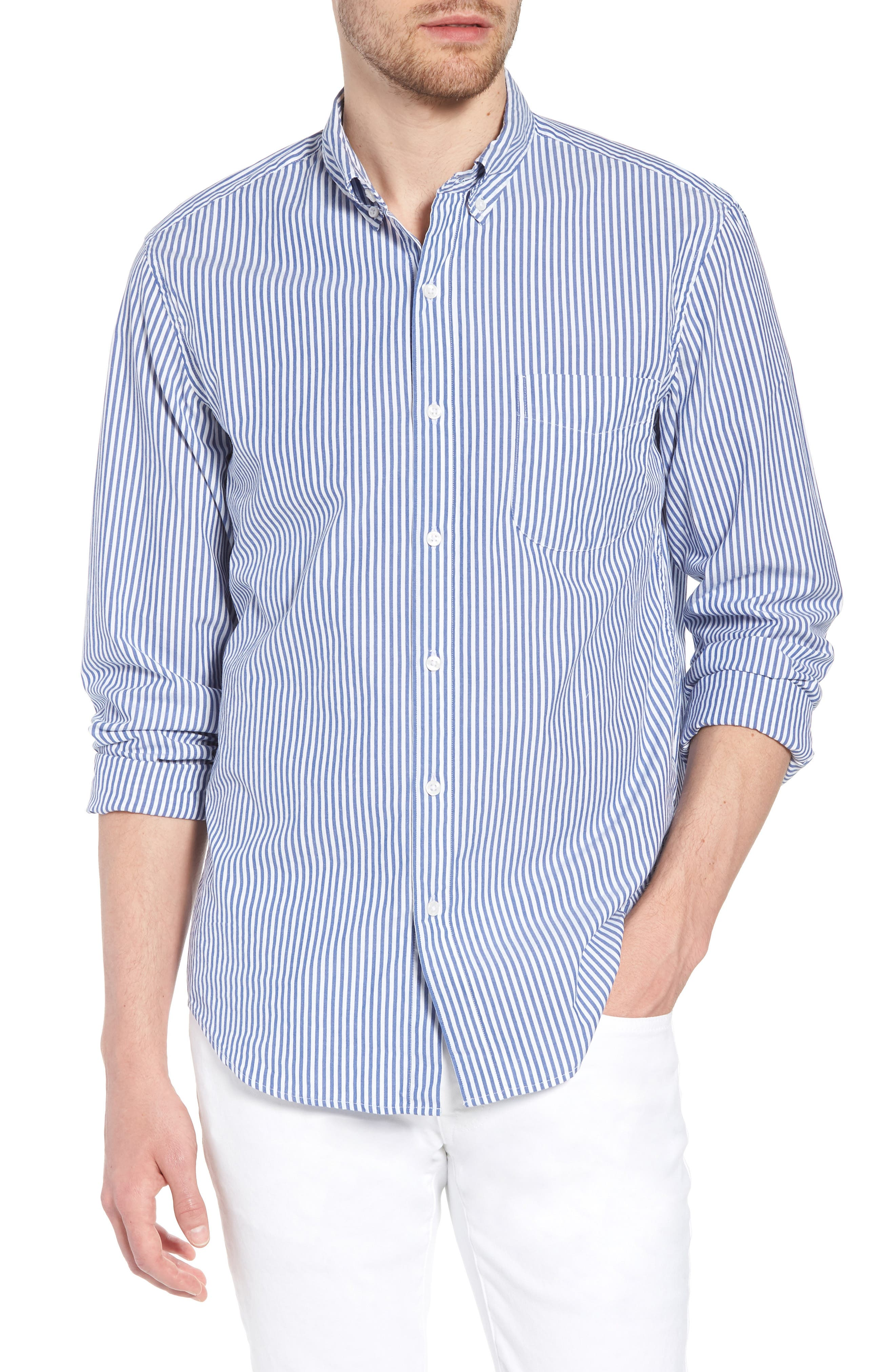 J.Crew Slim Fit Stretch Secret Wash Stripe Poplin Sport Shirt