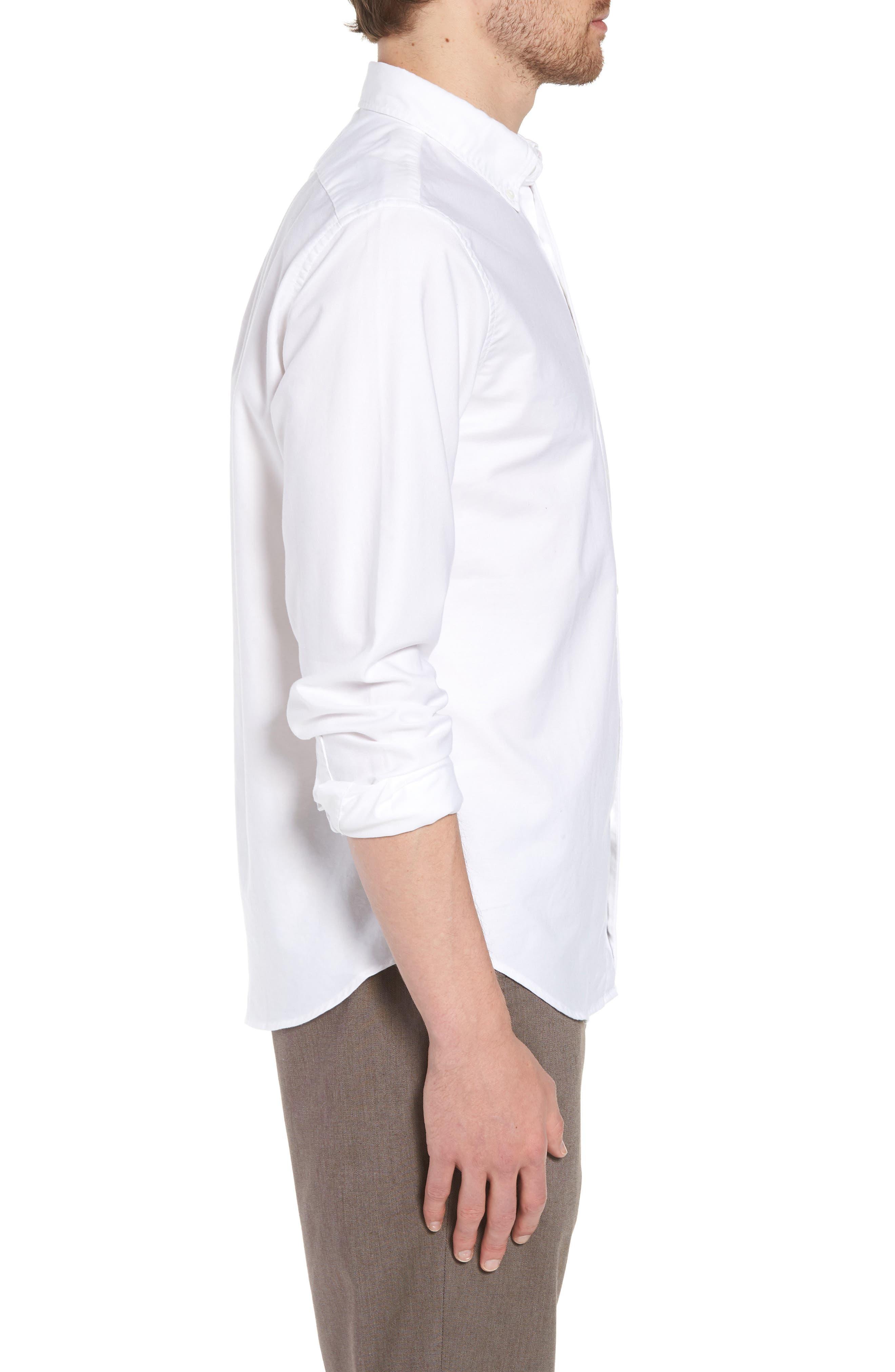 Slim Fit Stretch Pima Cotton Oxford Shirt,                             Alternate thumbnail 4, color,                             White