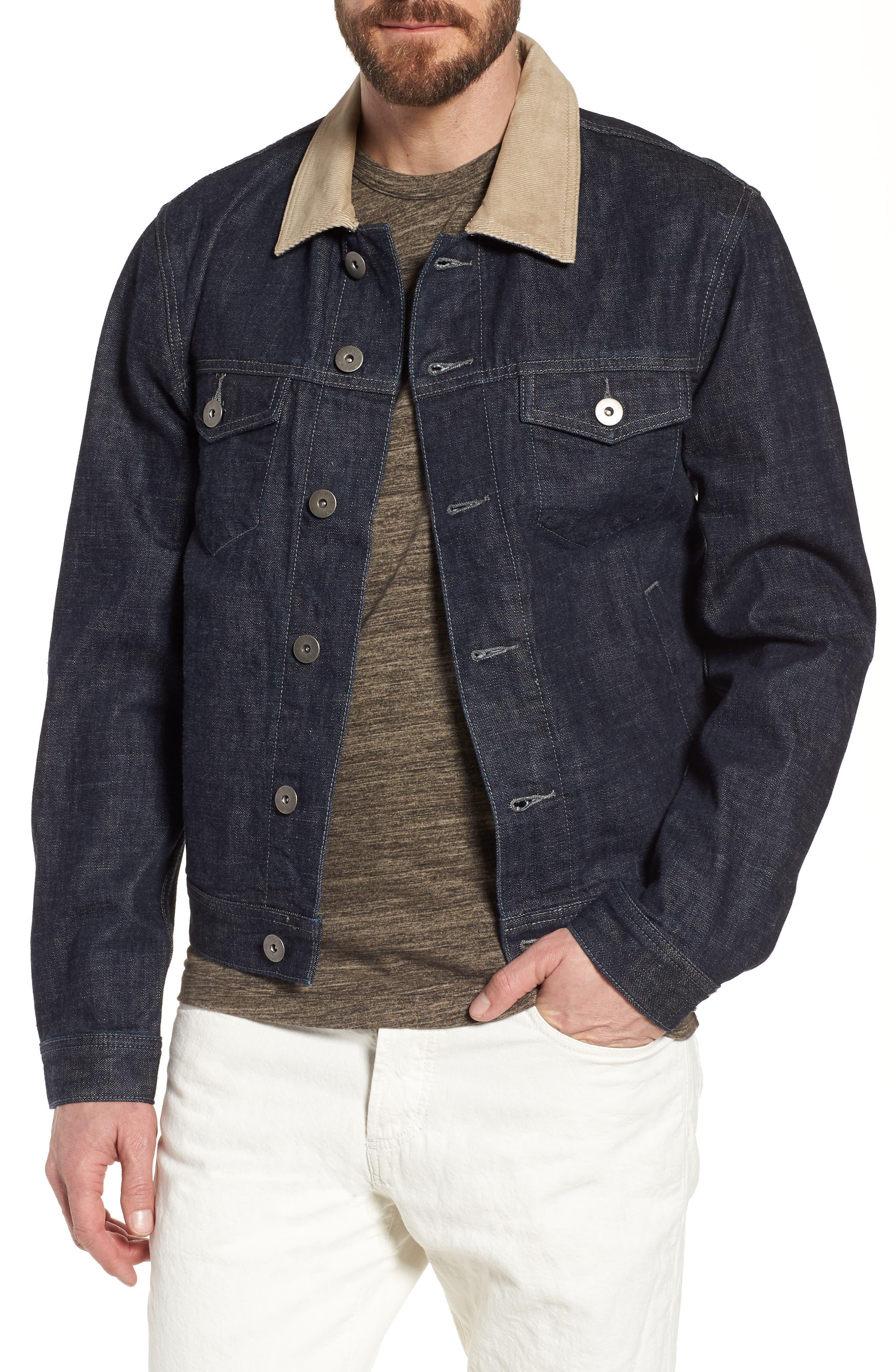 Selvedge Regular Fit Denim Jacket,                         Main,                         color, Blue