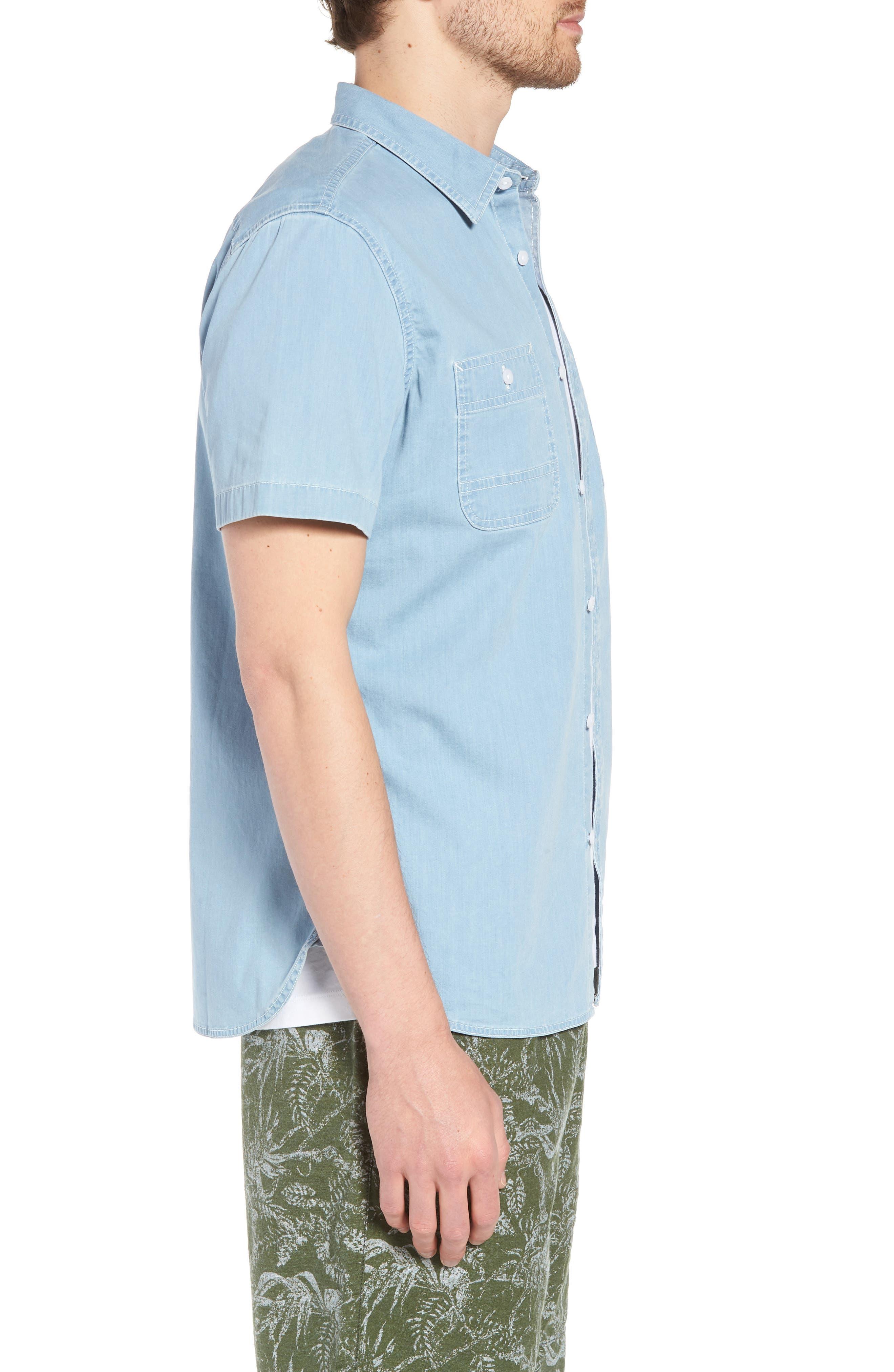 Workwear Trim Fit Stretch Denim Shirt,                             Alternate thumbnail 3, color,                             Blue Light Chambray