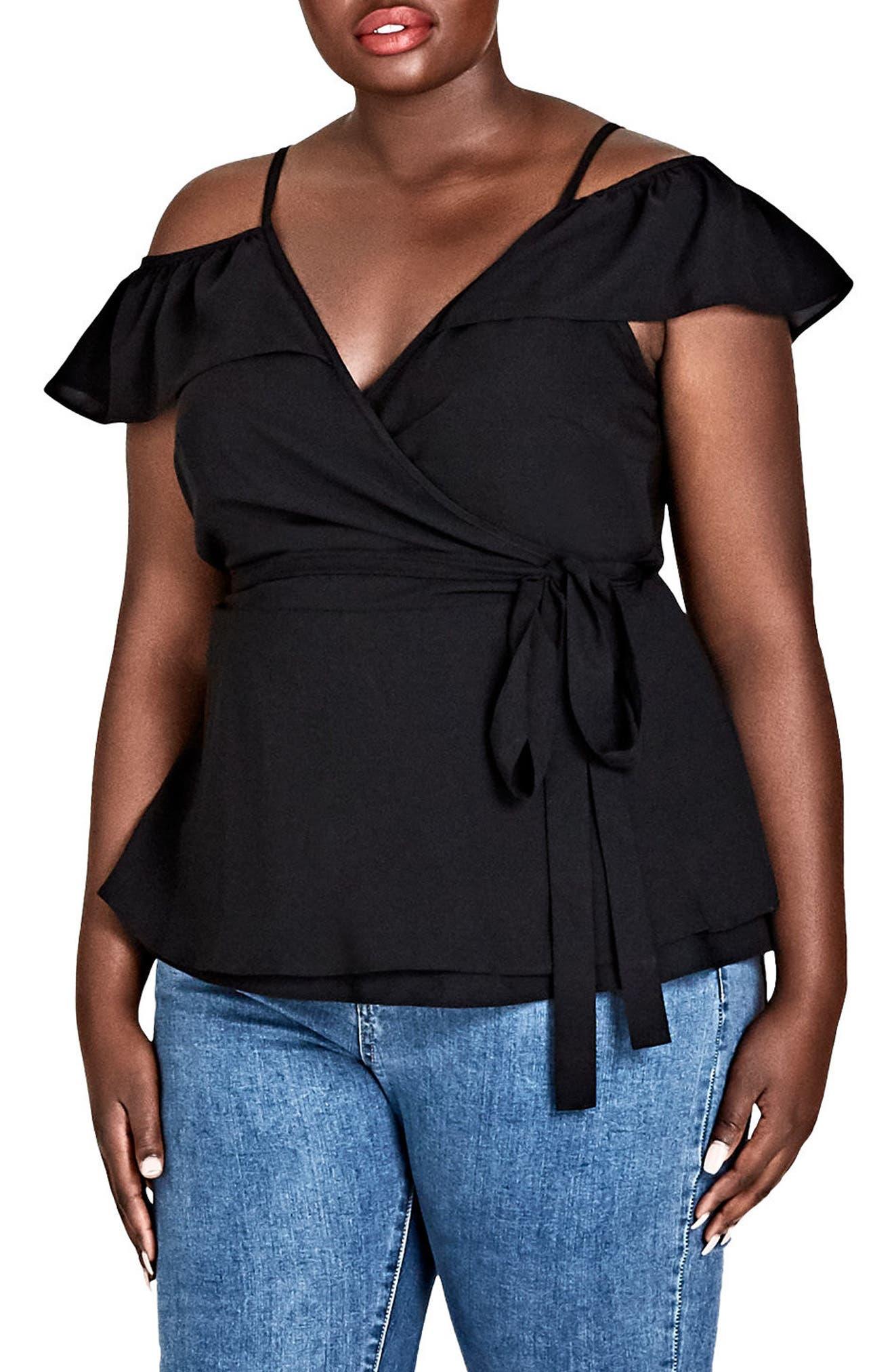 Flirty Faux Wrap Top,                         Main,                         color, Black