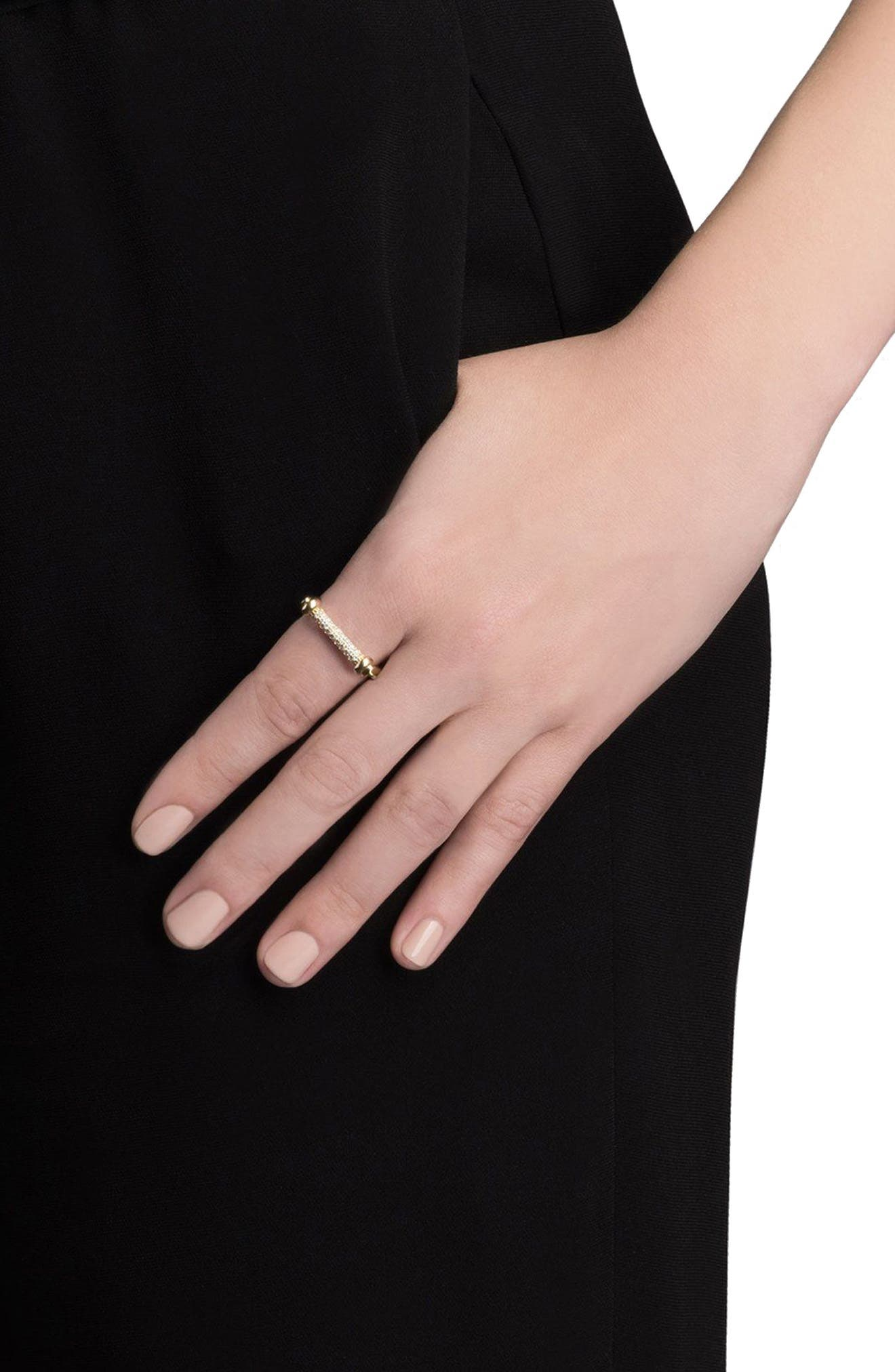 White Sapphire Thin Screw Cuff Ring,                             Alternate thumbnail 2, color,                             Polished Gold/ White Sapphire