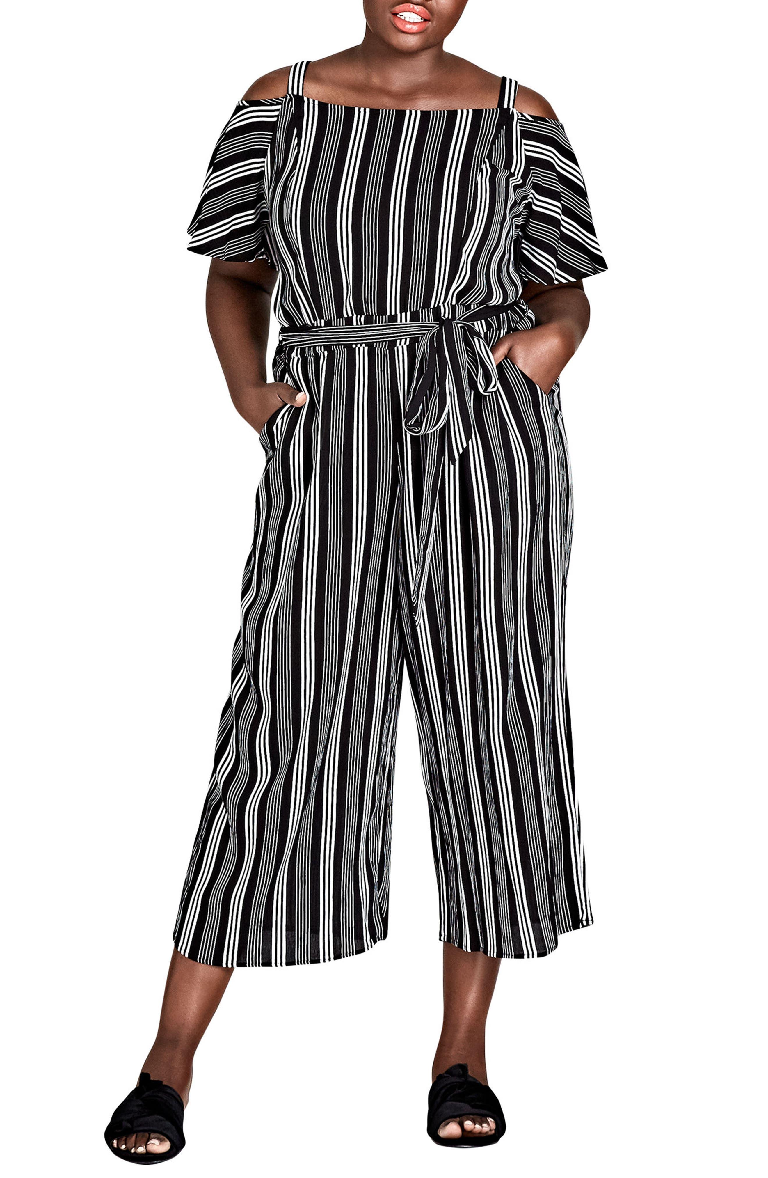 Stripe Play Cold Shoulder Jumpsuit,                             Main thumbnail 1, color,                             Stripe Play