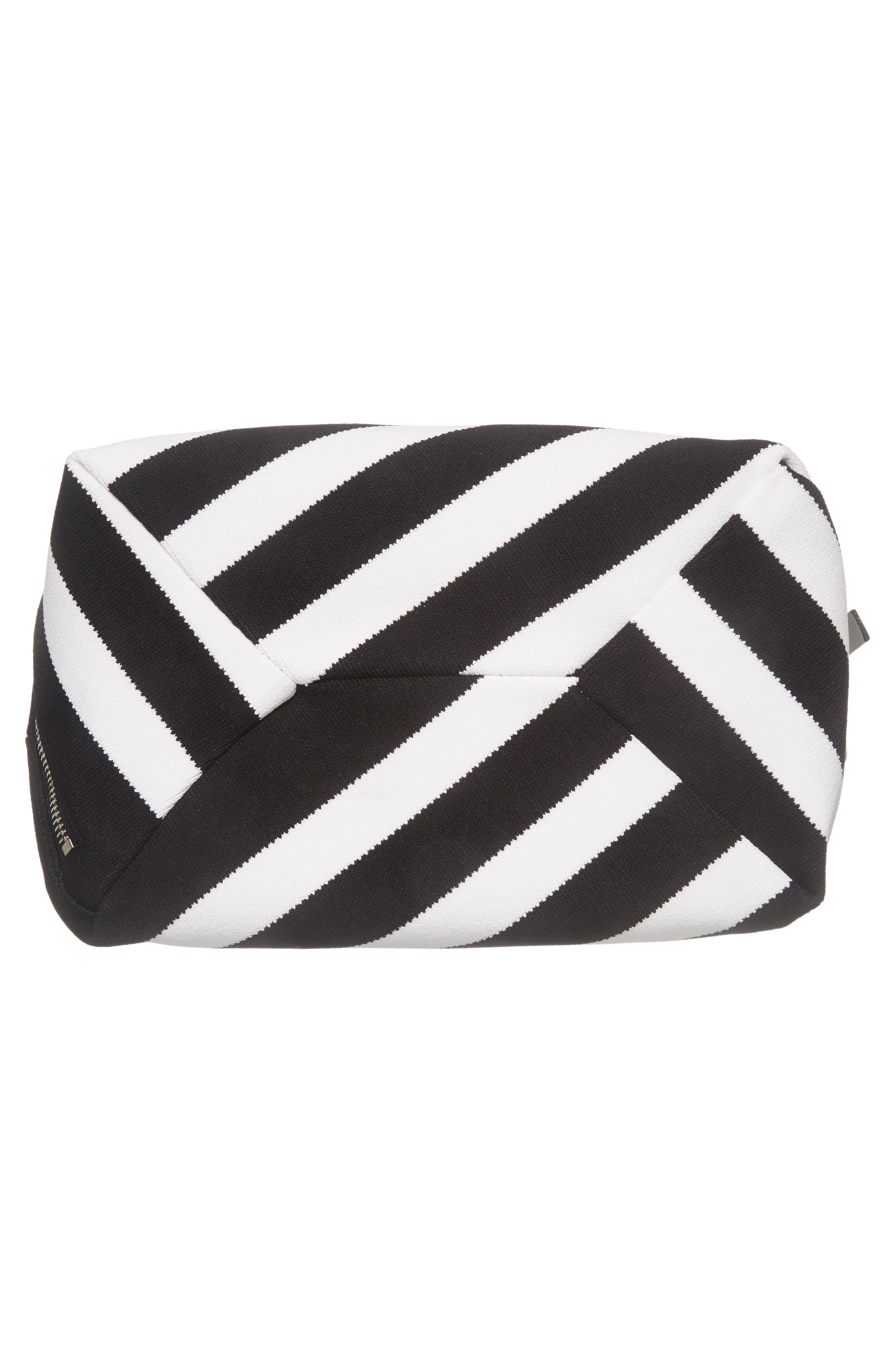 Medium Asymmetric Zip Stripe Textile Hobo,                             Alternate thumbnail 6, color,                             Black/ Ecru