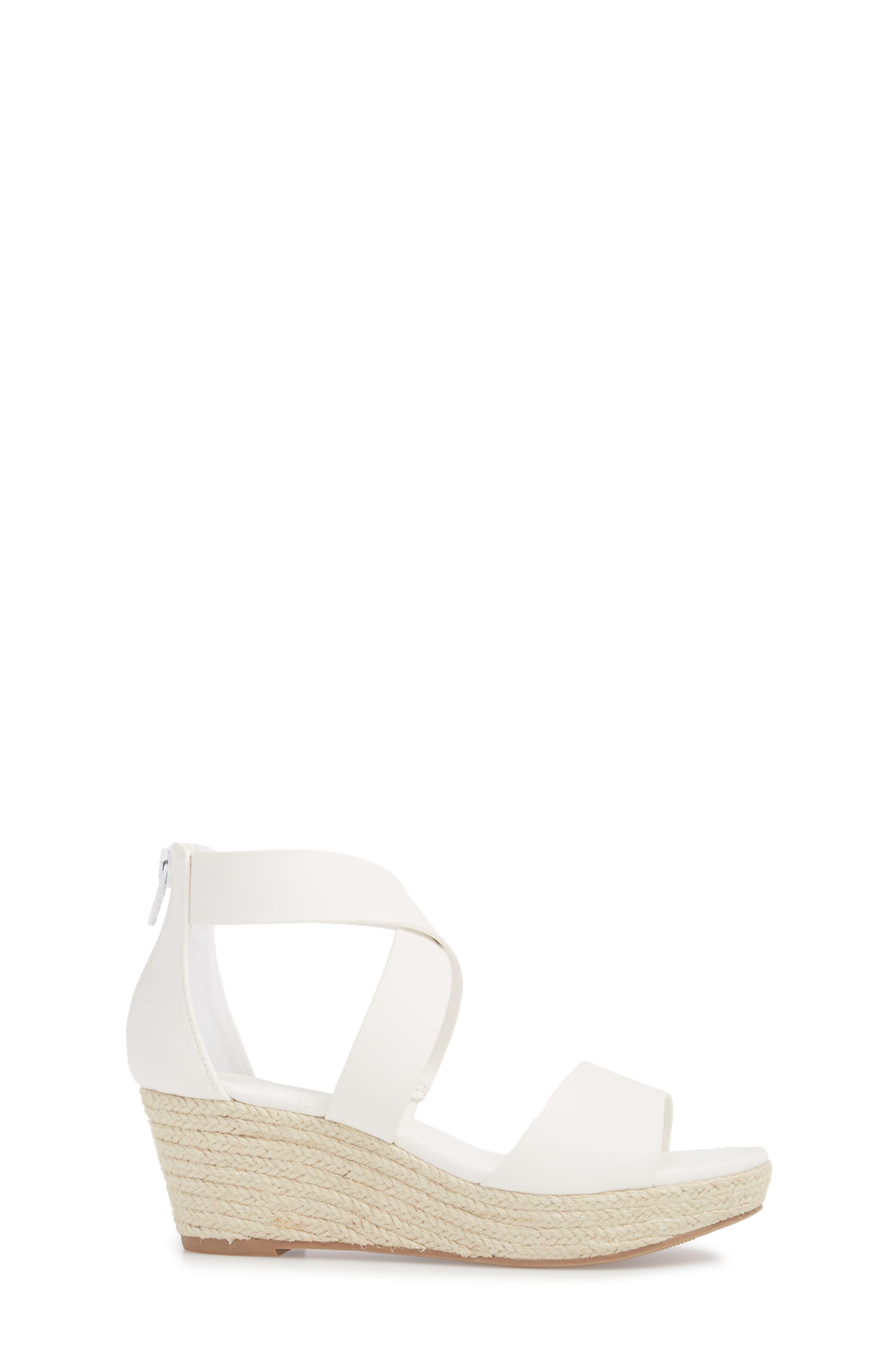 Wilma Platform Wedge Sandal,                             Alternate thumbnail 3, color,                             White