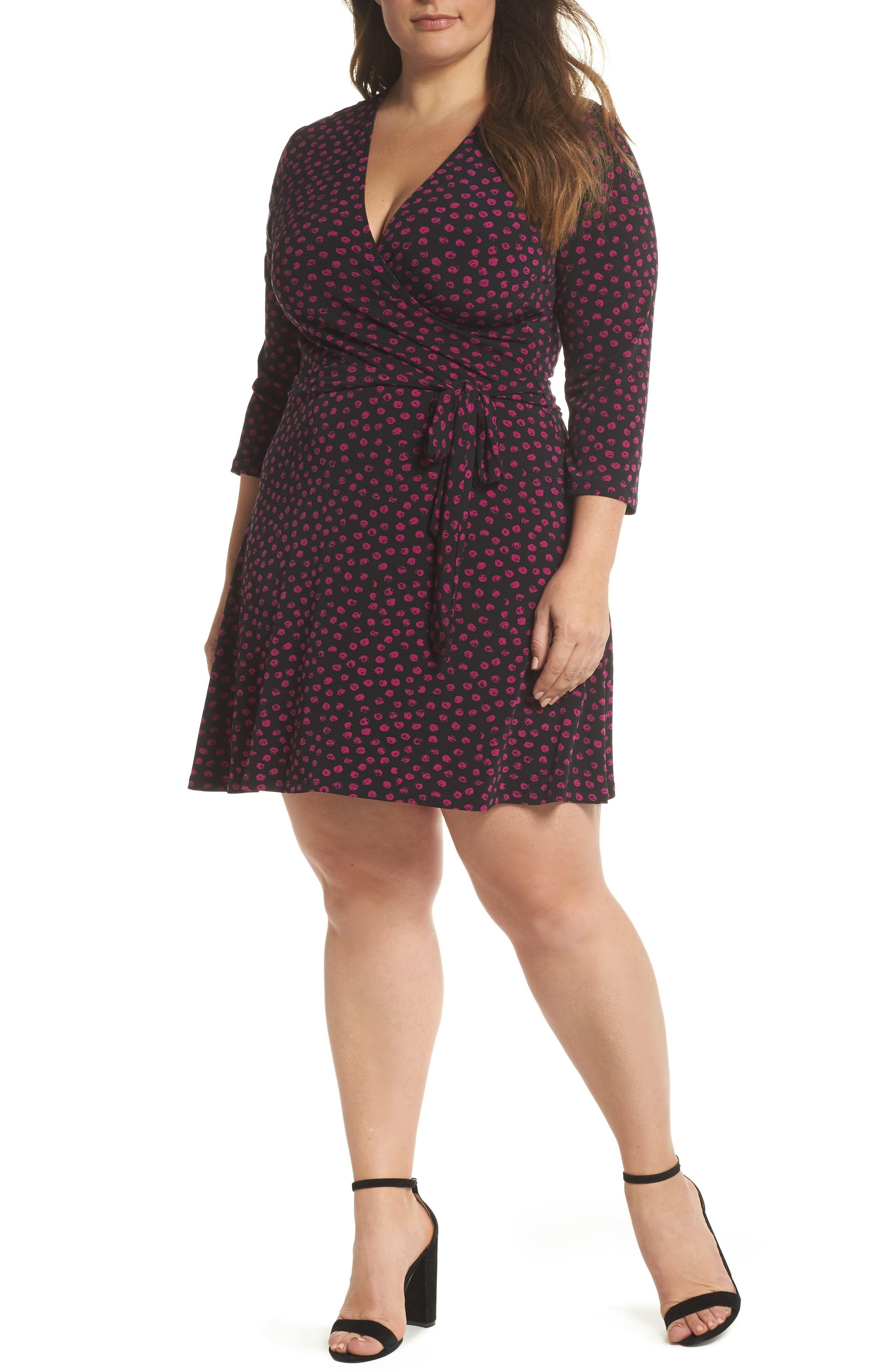 LEOTA Perfect Faux Wrap Jersey Dress in Appaloosa Black