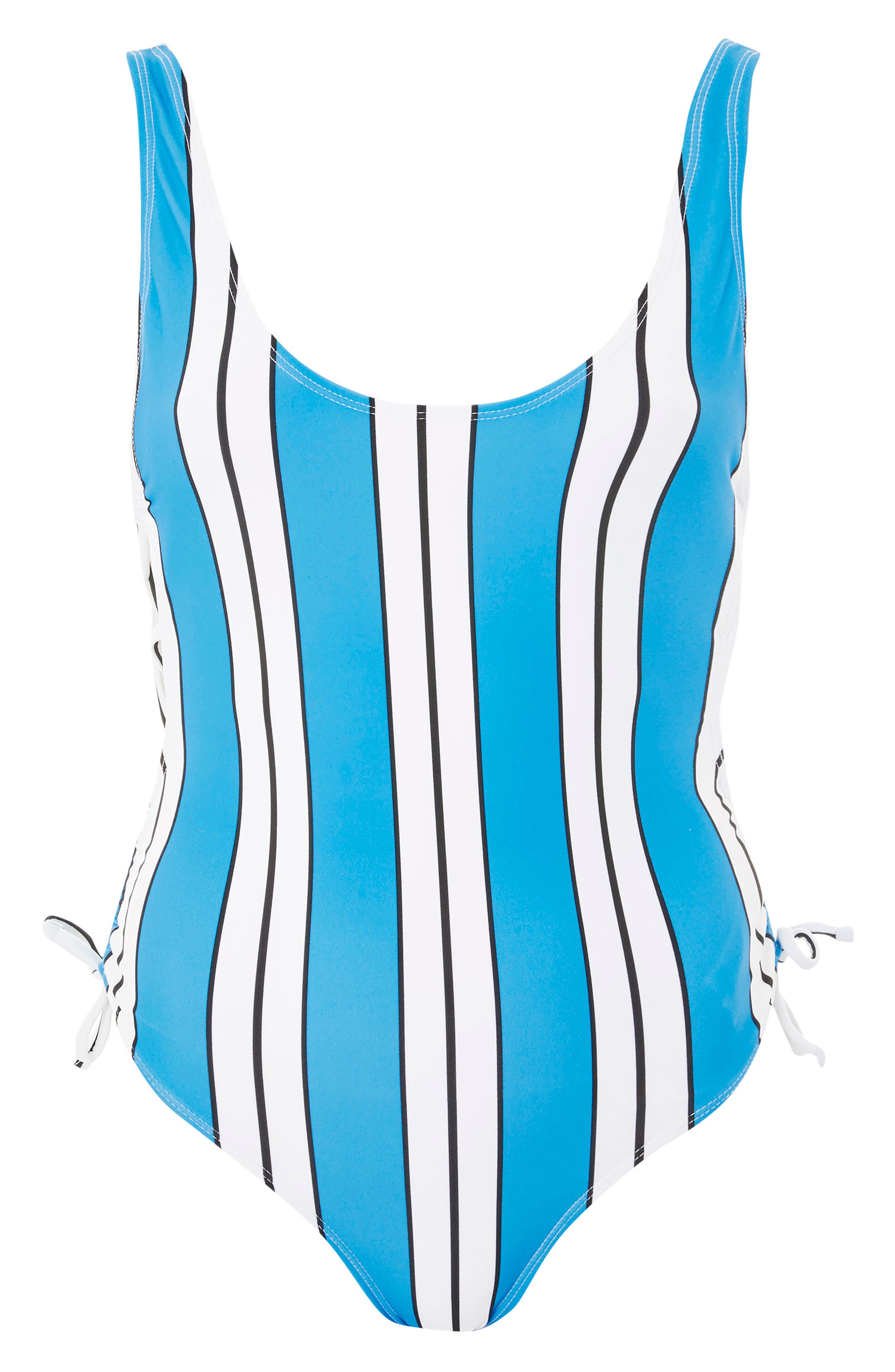 Stripe Side Tie One-Piece Swimsuit,                             Alternate thumbnail 3, color,                             Blue Multi