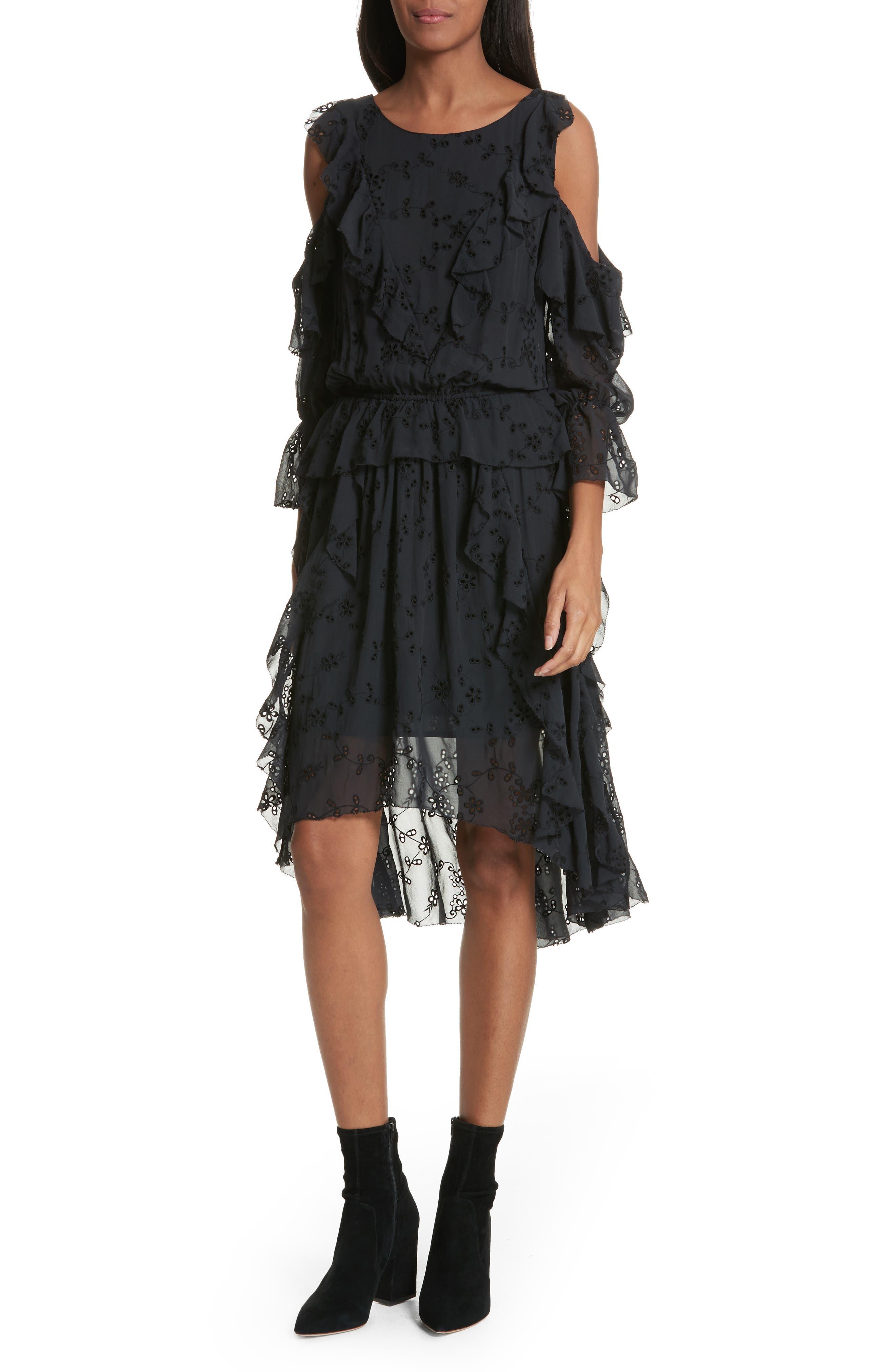 Alpheus Cold Shoulder Ruffled Silk Dress,                             Main thumbnail 1, color,                             Caviar/ Caviar