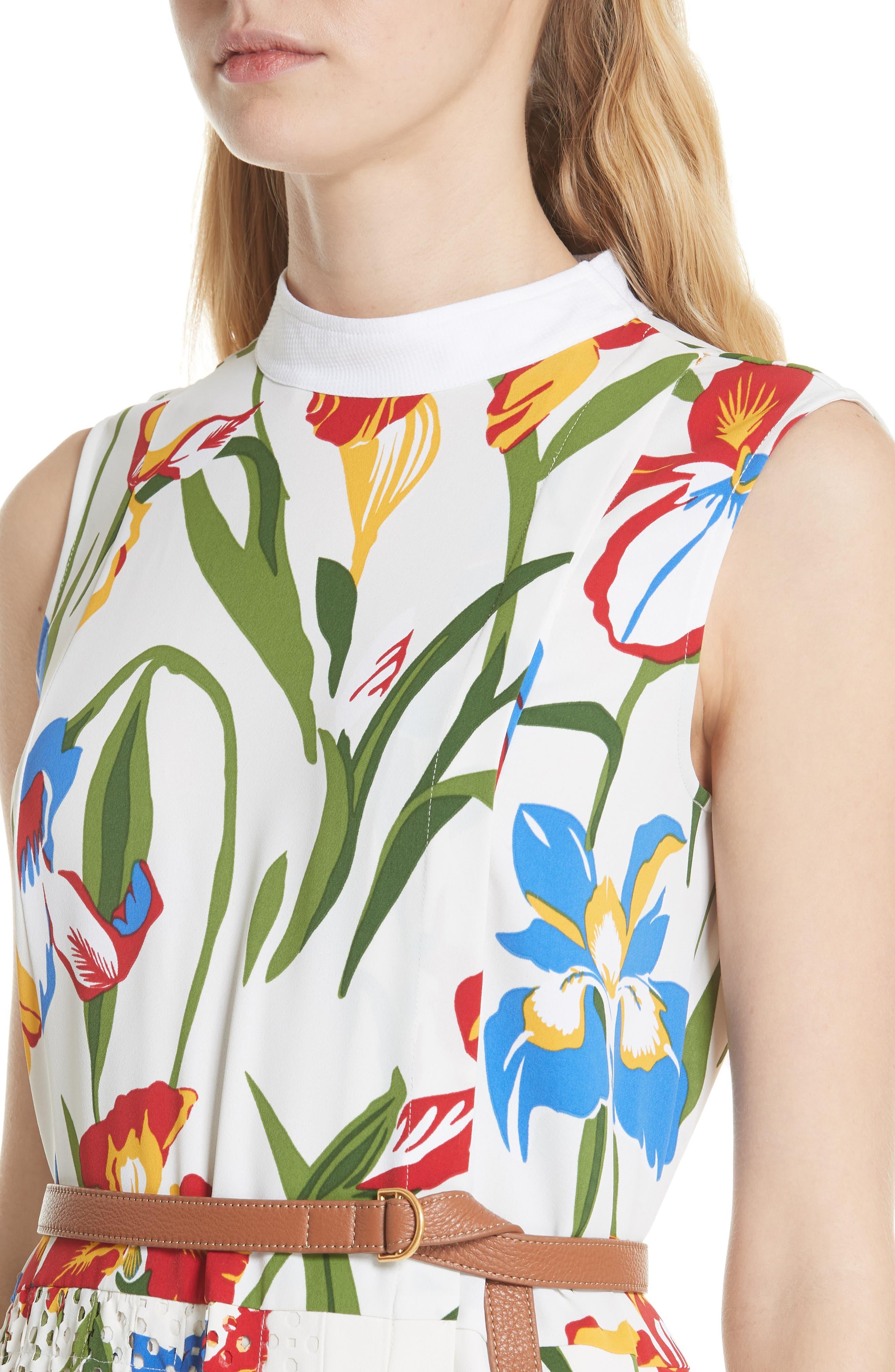 Carine Floral Dress,                             Alternate thumbnail 4, color,                             Painted Iris