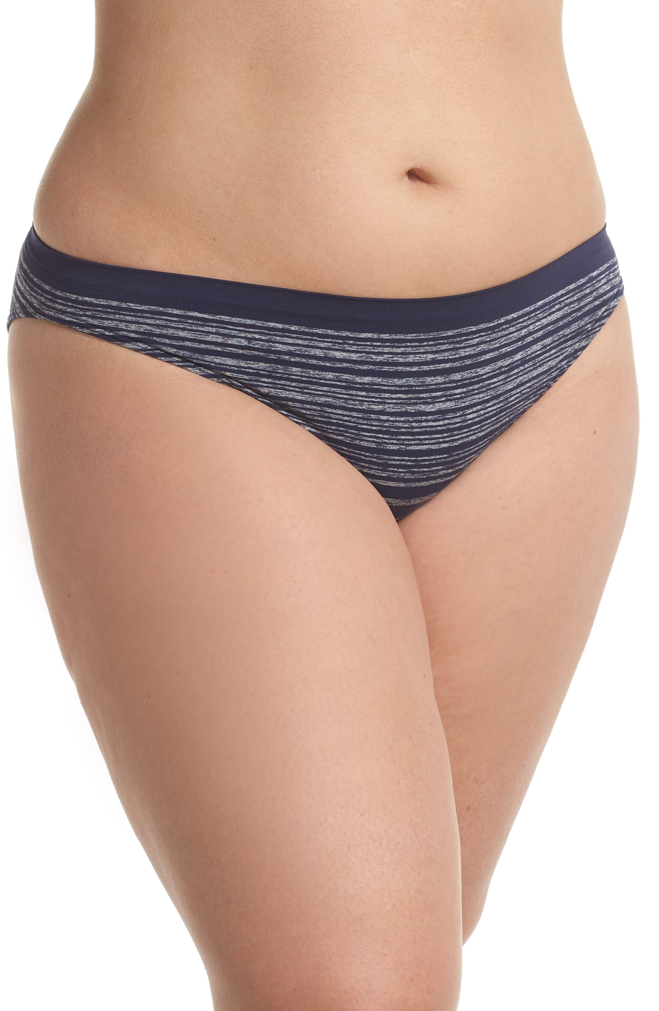 Seamless Bikini,                         Main,                         color, Navy Peacoat Heather Stripe