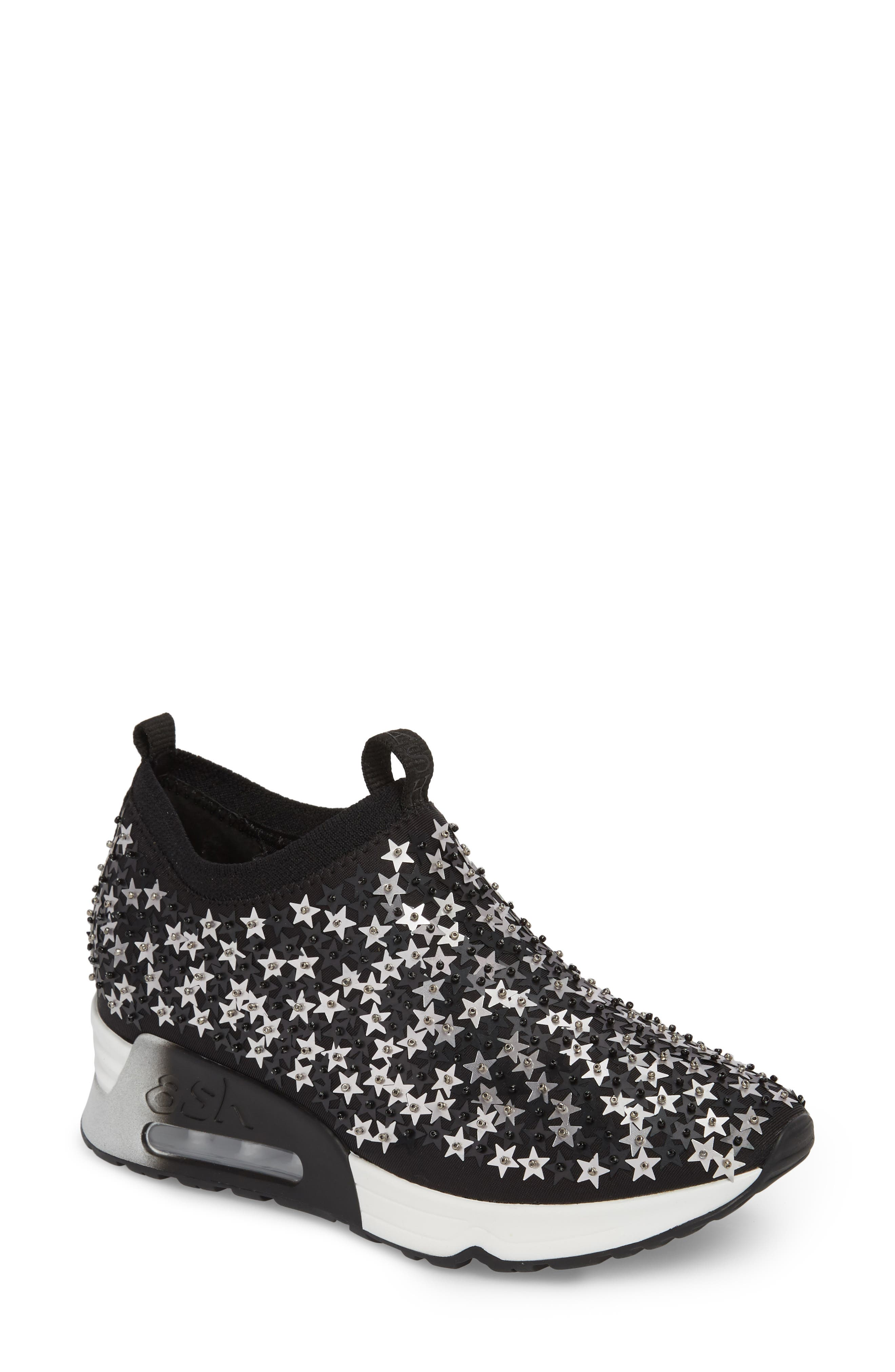 Lighting Star Platform Sock Sneaker,                             Main thumbnail 1, color,                             Black/ Silver