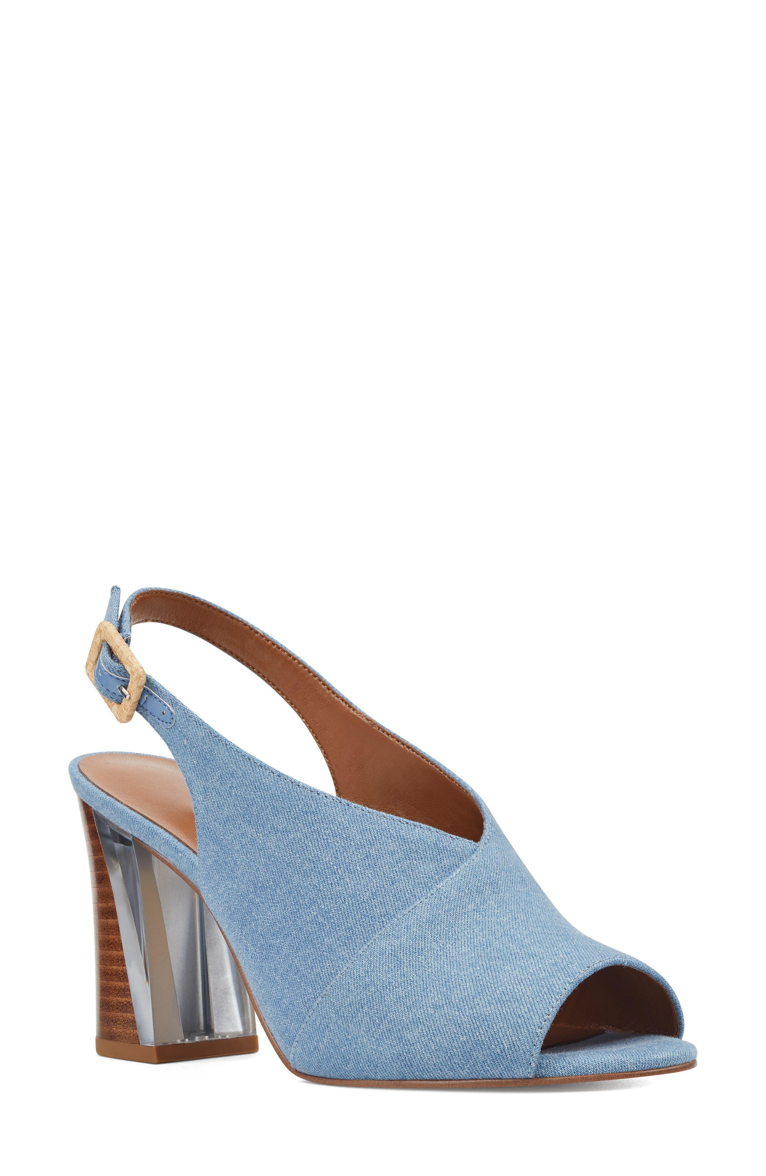 Morenzo Slingback Sandal,                             Main thumbnail 1, color,                             Light Blue Fabric