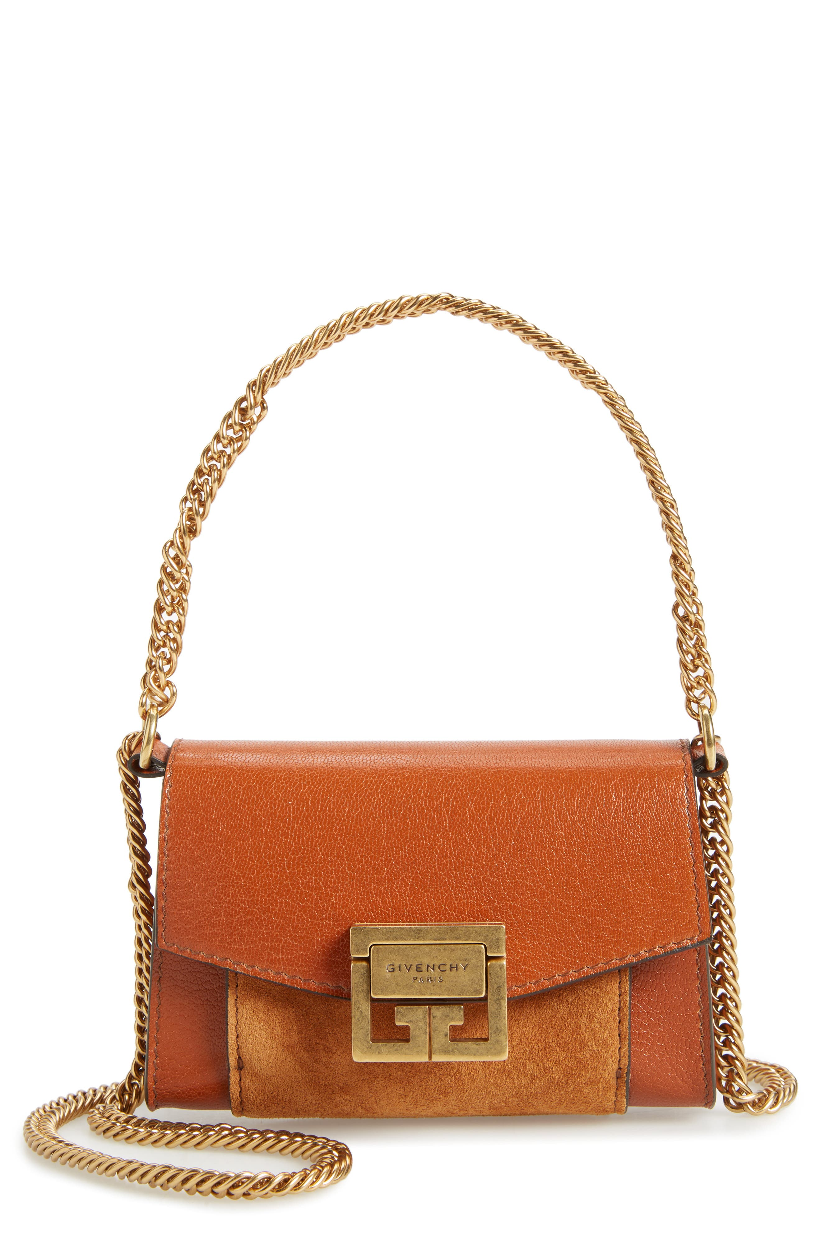 GIVENCY NANO GV3 LEATHER & SUEDE CROSSBODY BAG - BROWN