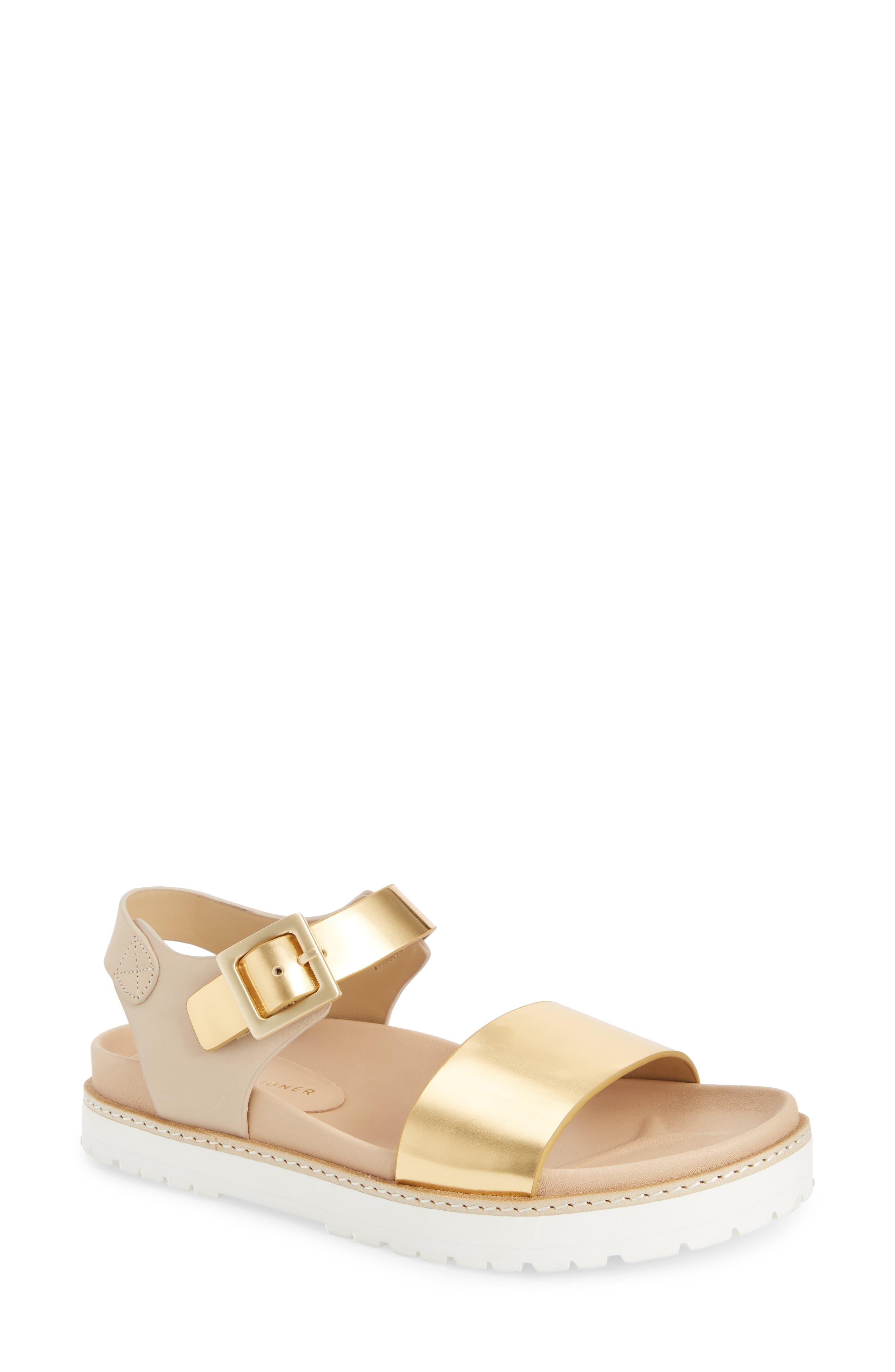 Ange Sandal,                         Main,                         color, Gold/ Natural Leather