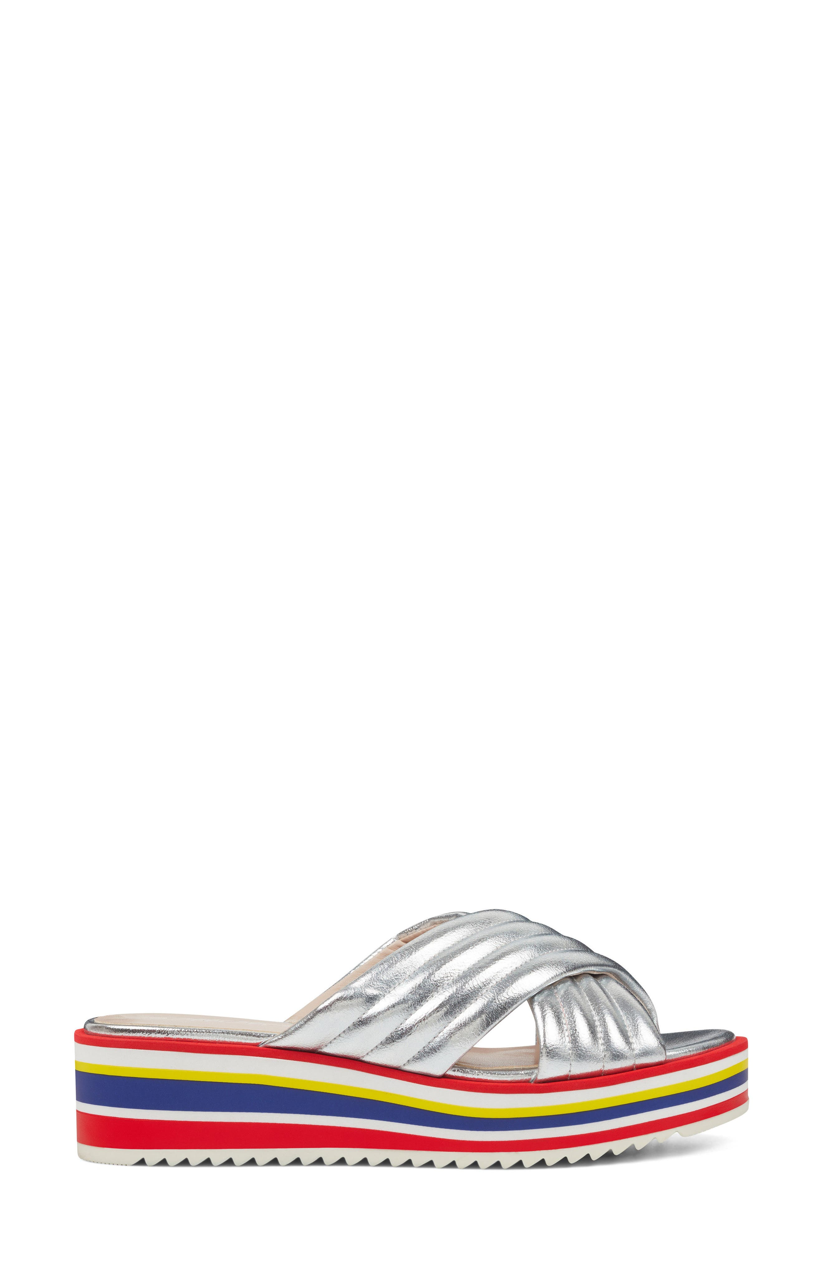 Zonita Platform Slide Sandal,                             Alternate thumbnail 3, color,                             Silver Faux Leather