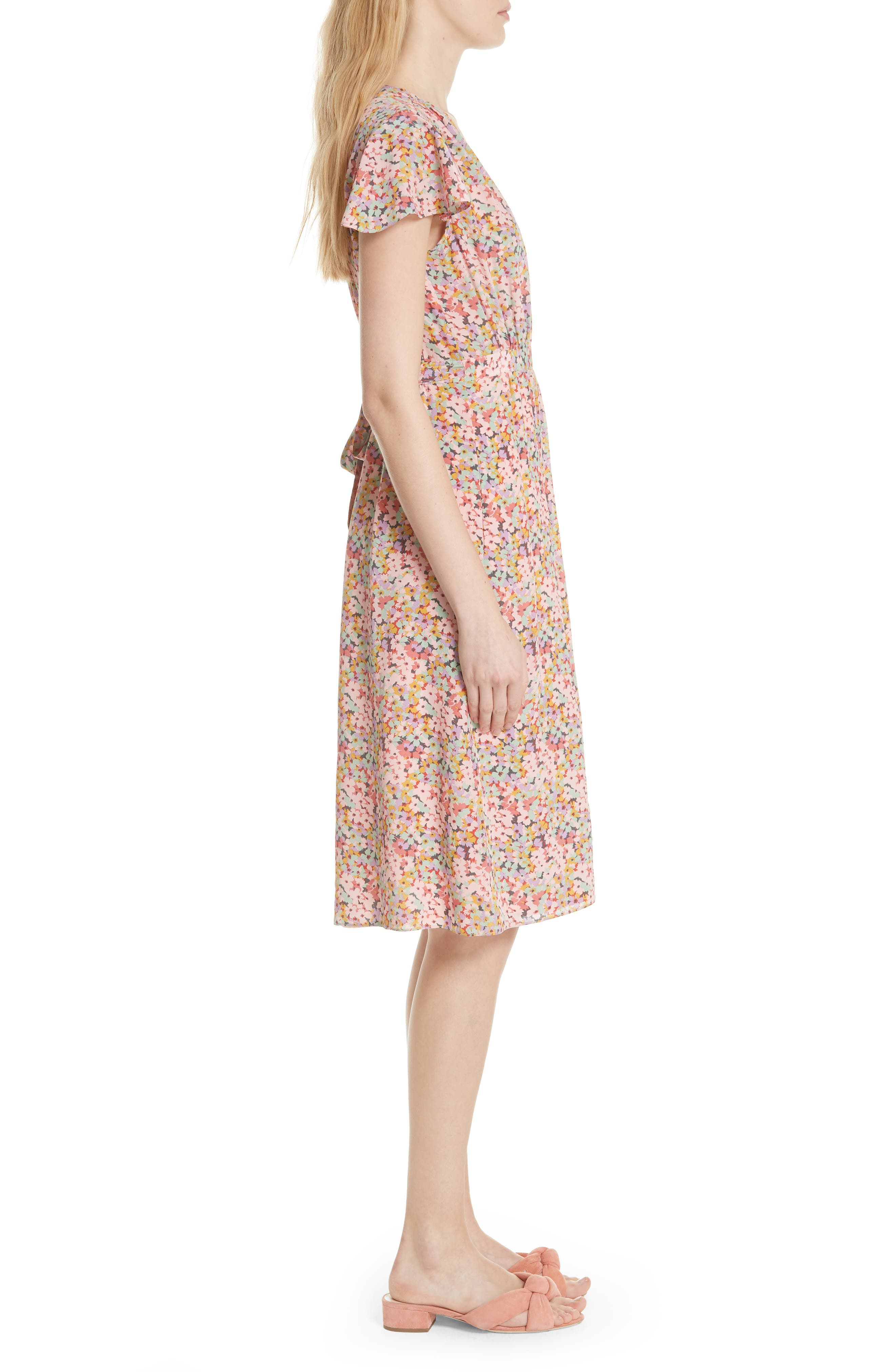 Margo Faux Wrap Silk Dress,                             Alternate thumbnail 3, color,                             Multi