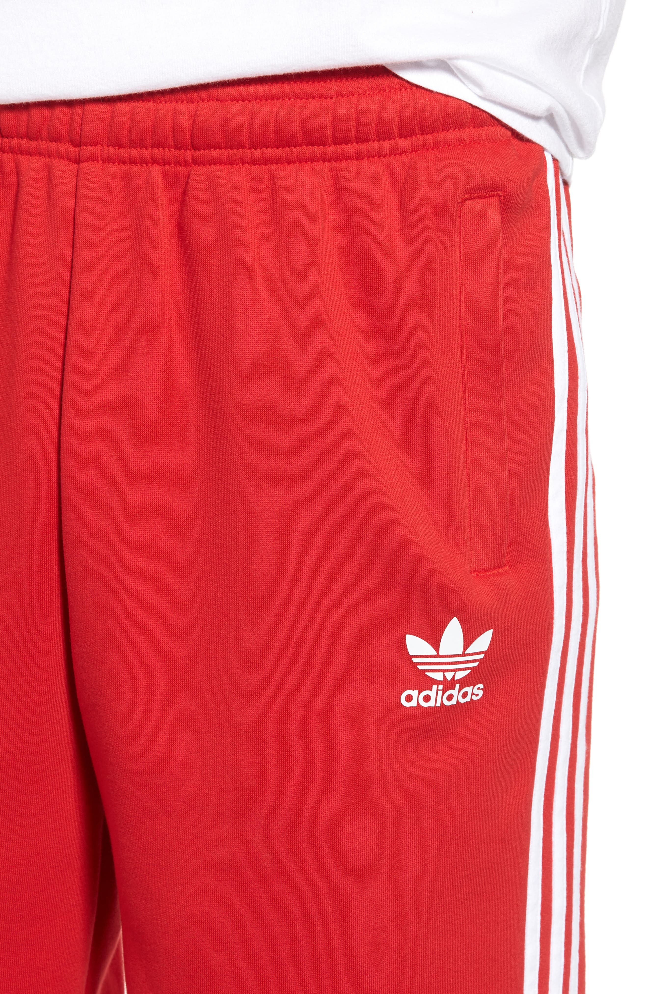 3-Stripes Shorts,                             Alternate thumbnail 4, color,                             Red/ White
