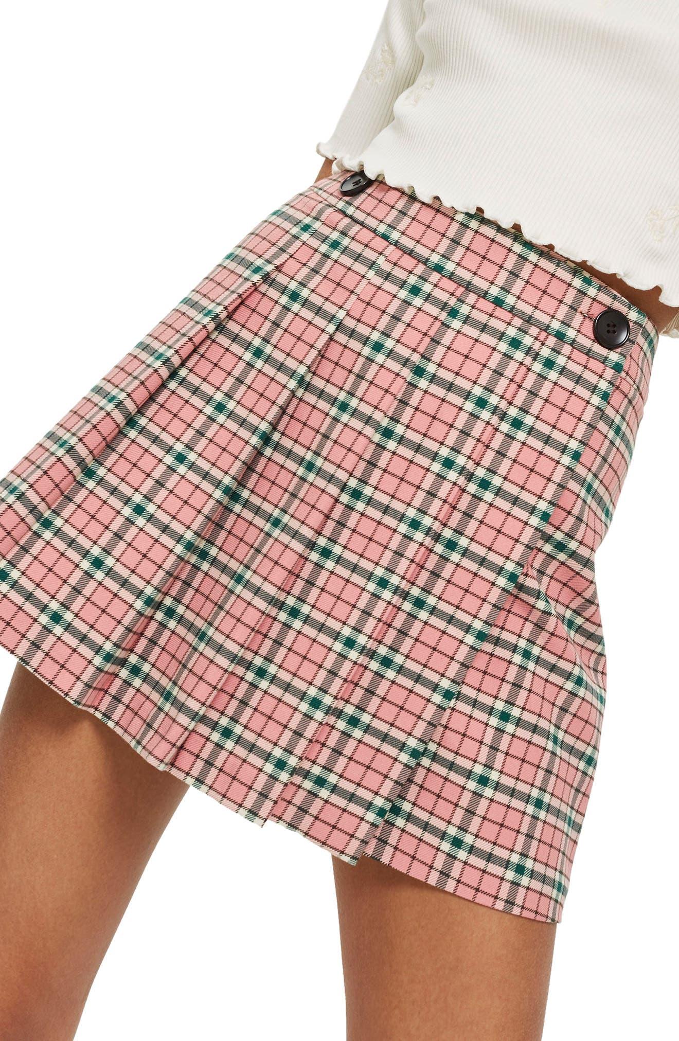 Summer Check Kilt Miniskirt,                             Main thumbnail 1, color,                             Pink Multi