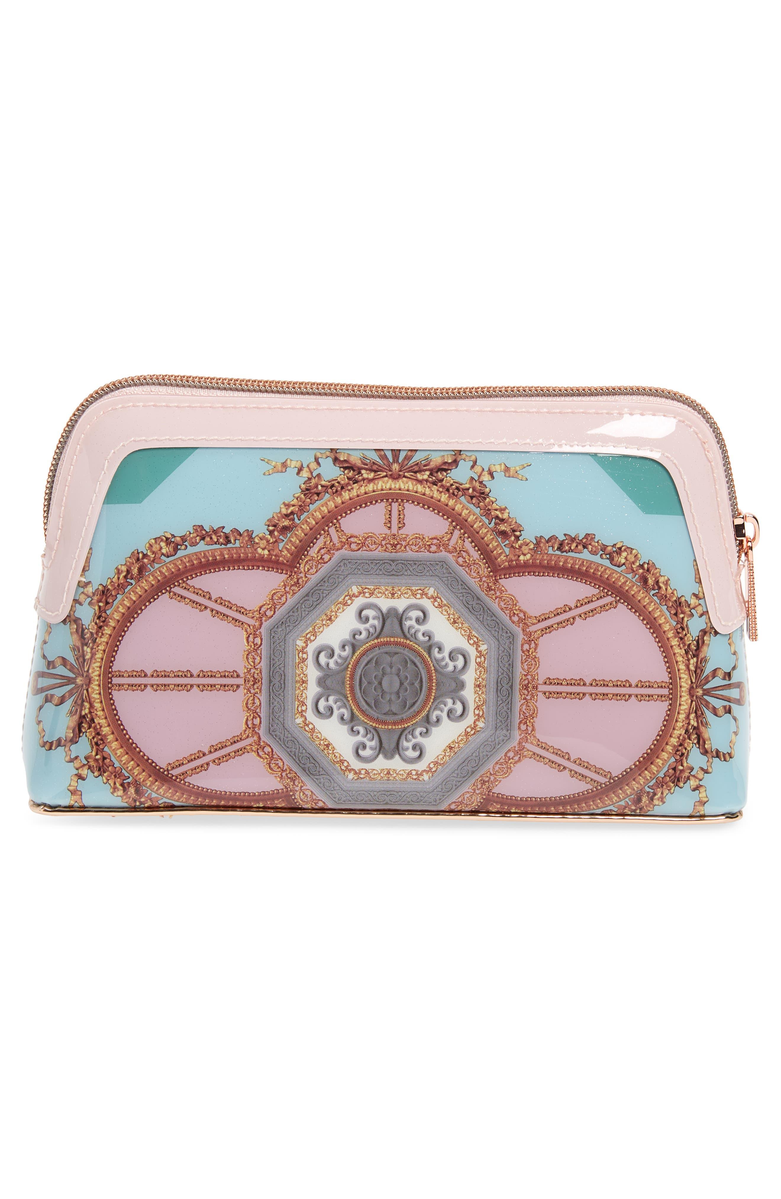 Dona Versailles Print Cosmetics Bag,                             Alternate thumbnail 2, color,                             Teal