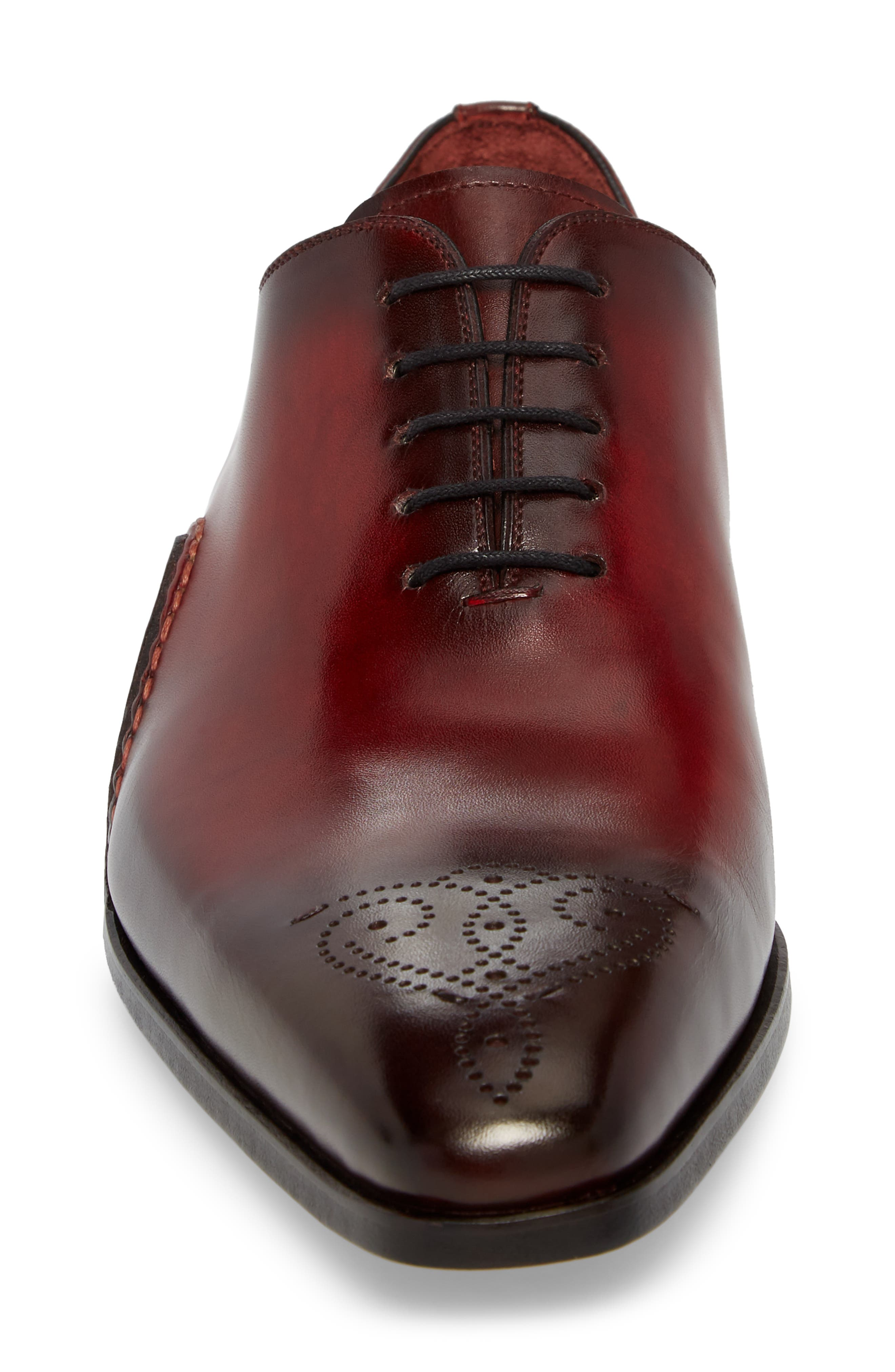 Vada Brogued Whole Cut Shoe,                             Alternate thumbnail 4, color,                             Red Leather