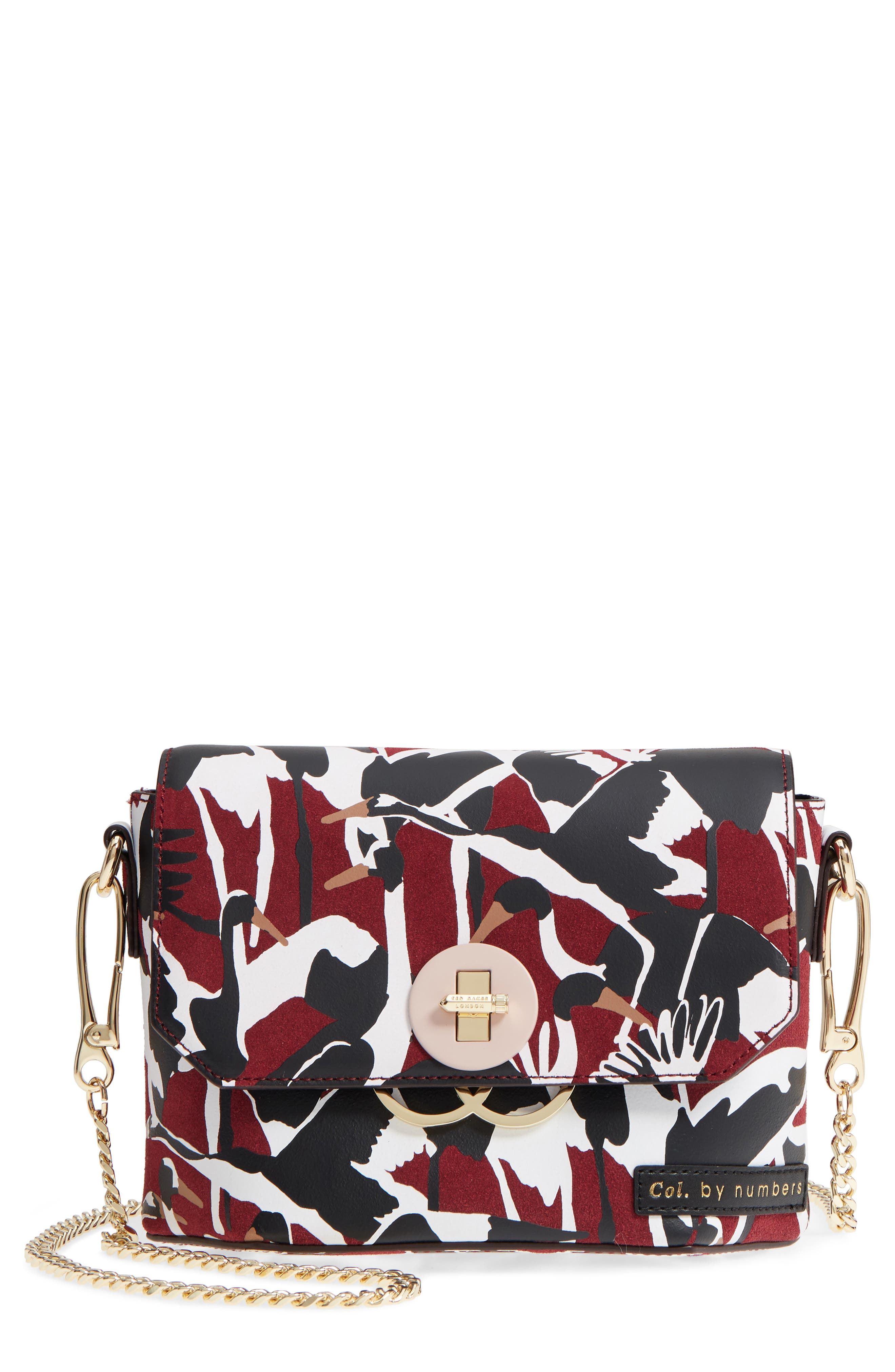 Colour by Numbers Leather Crossbody Bag,                             Main thumbnail 1, color,                             Dark Red