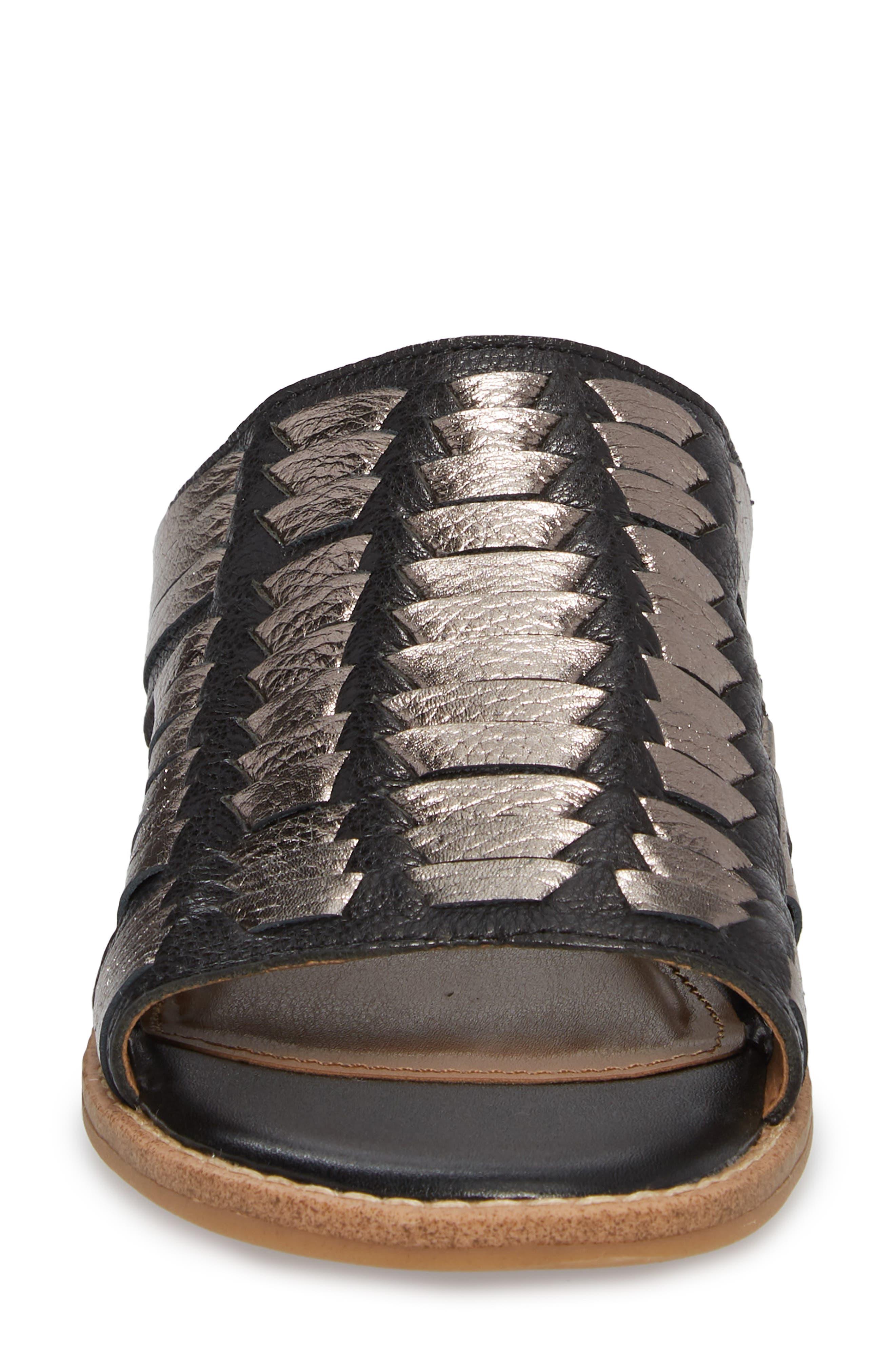 Brileigh Slide Sandal,                             Alternate thumbnail 4, color,                             Black Leather