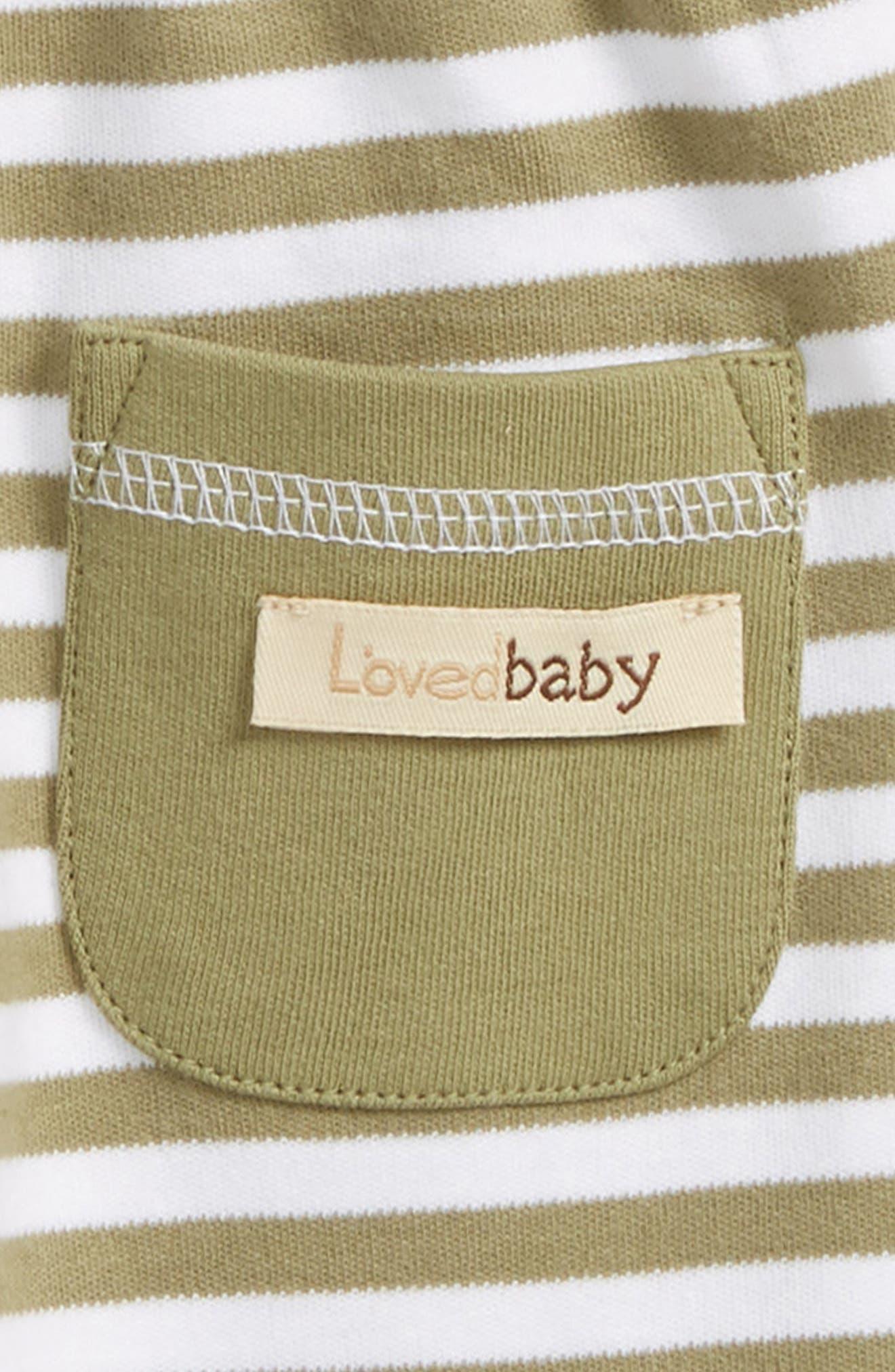Stripe Organic Cotton Jogger Pants,                             Alternate thumbnail 3, color,                             Sage/ White