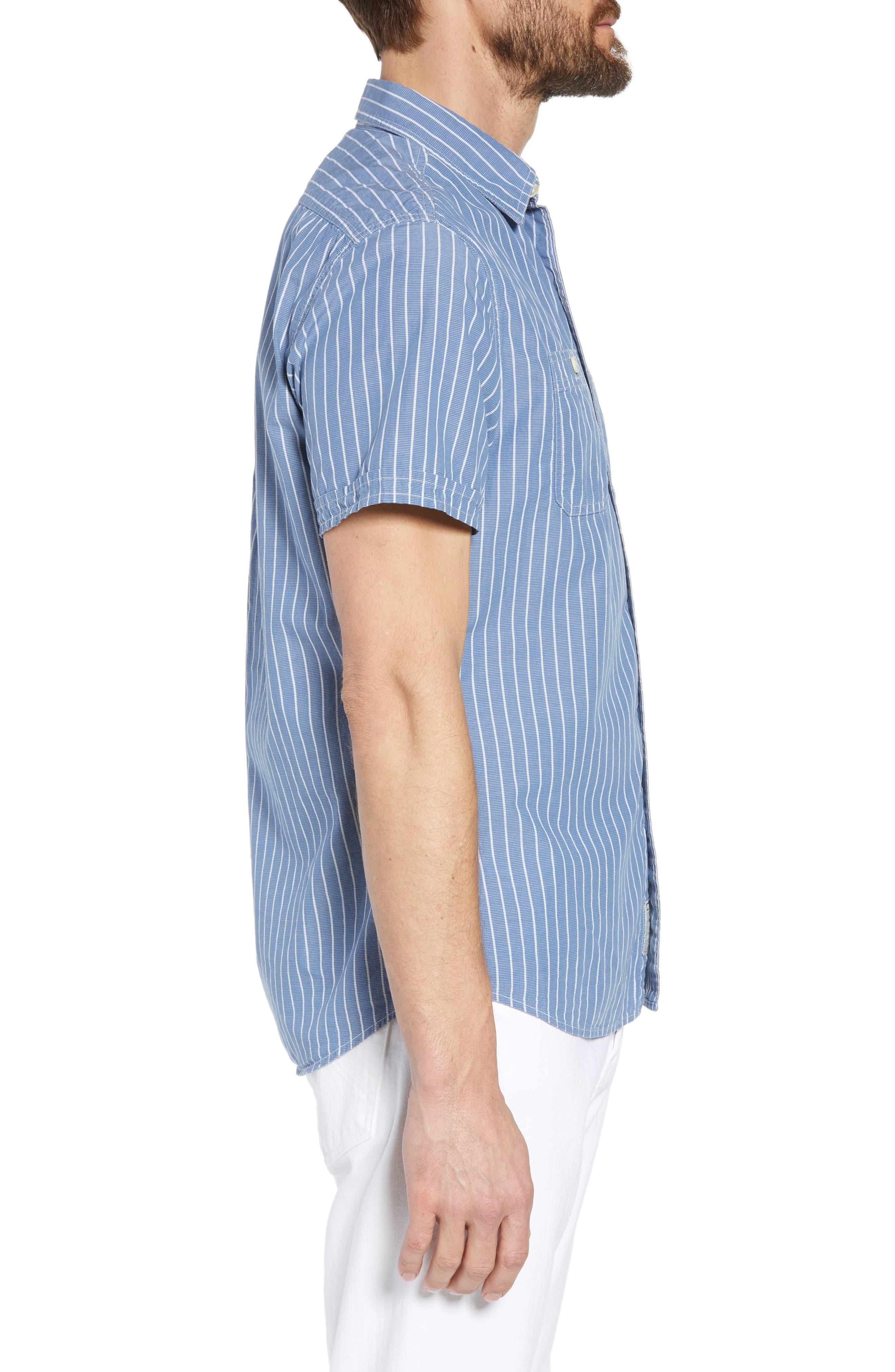 Larkin Stripe Sport Shirt,                             Alternate thumbnail 4, color,                             Blue Cream Stripe