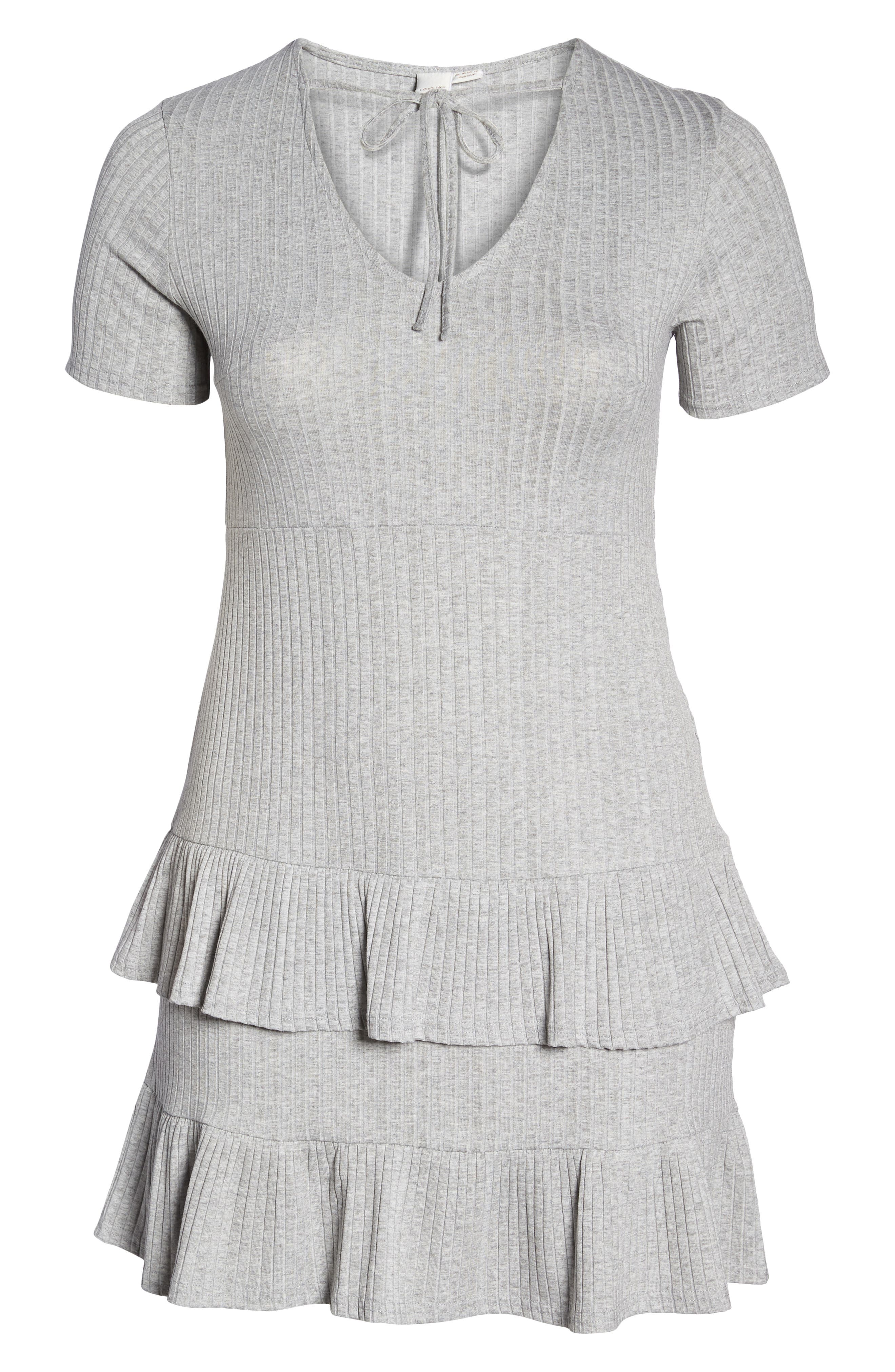 Fit & Flare Ribbed Dress,                             Alternate thumbnail 7, color,                             Grey
