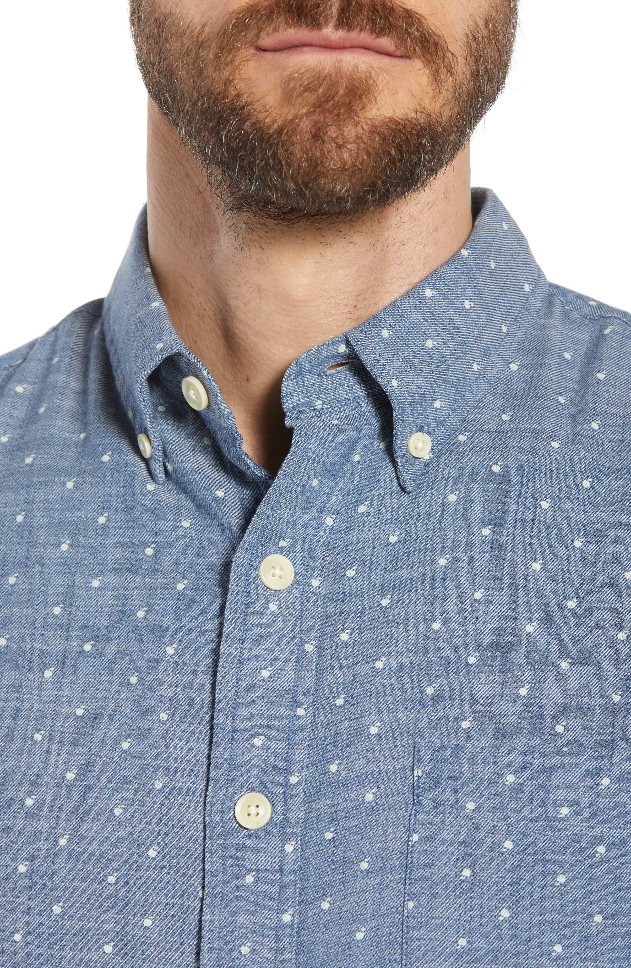 Falling Apple Slub Twill Sport Shirt,                             Alternate thumbnail 2, color,                             Blue Twill