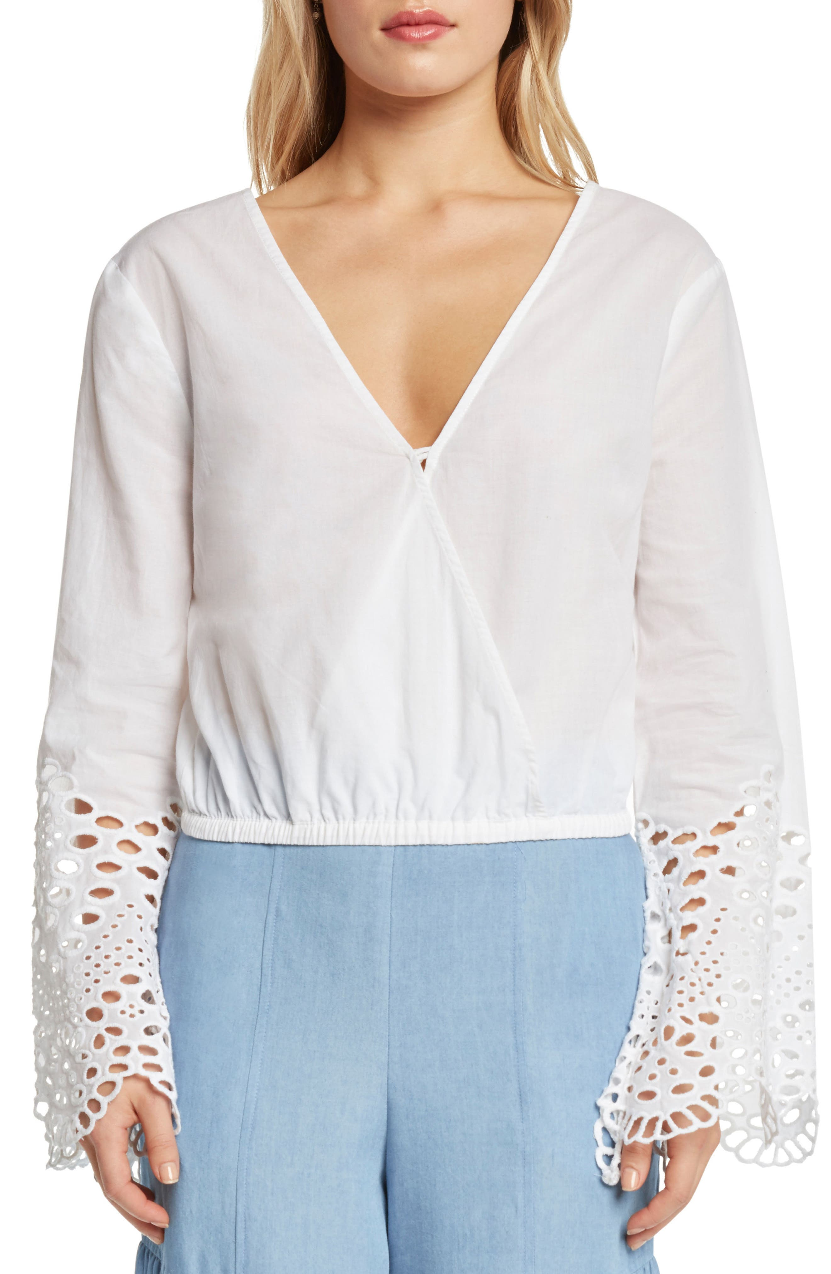 Alternate Image 1 Selected - Willow & Clay Poplin Faux Wrap Top