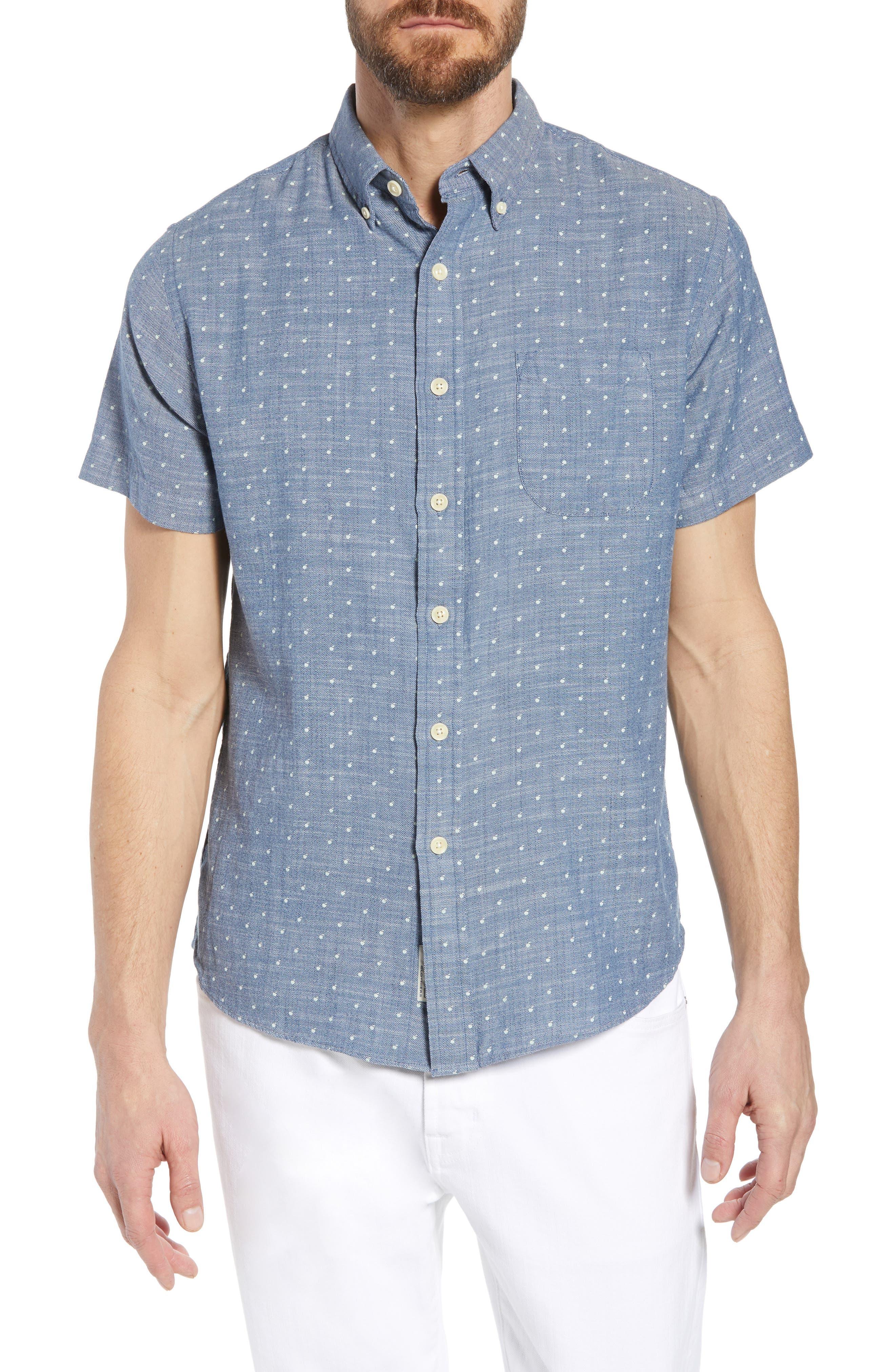 Falling Apple Slub Twill Sport Shirt,                         Main,                         color, Blue Twill