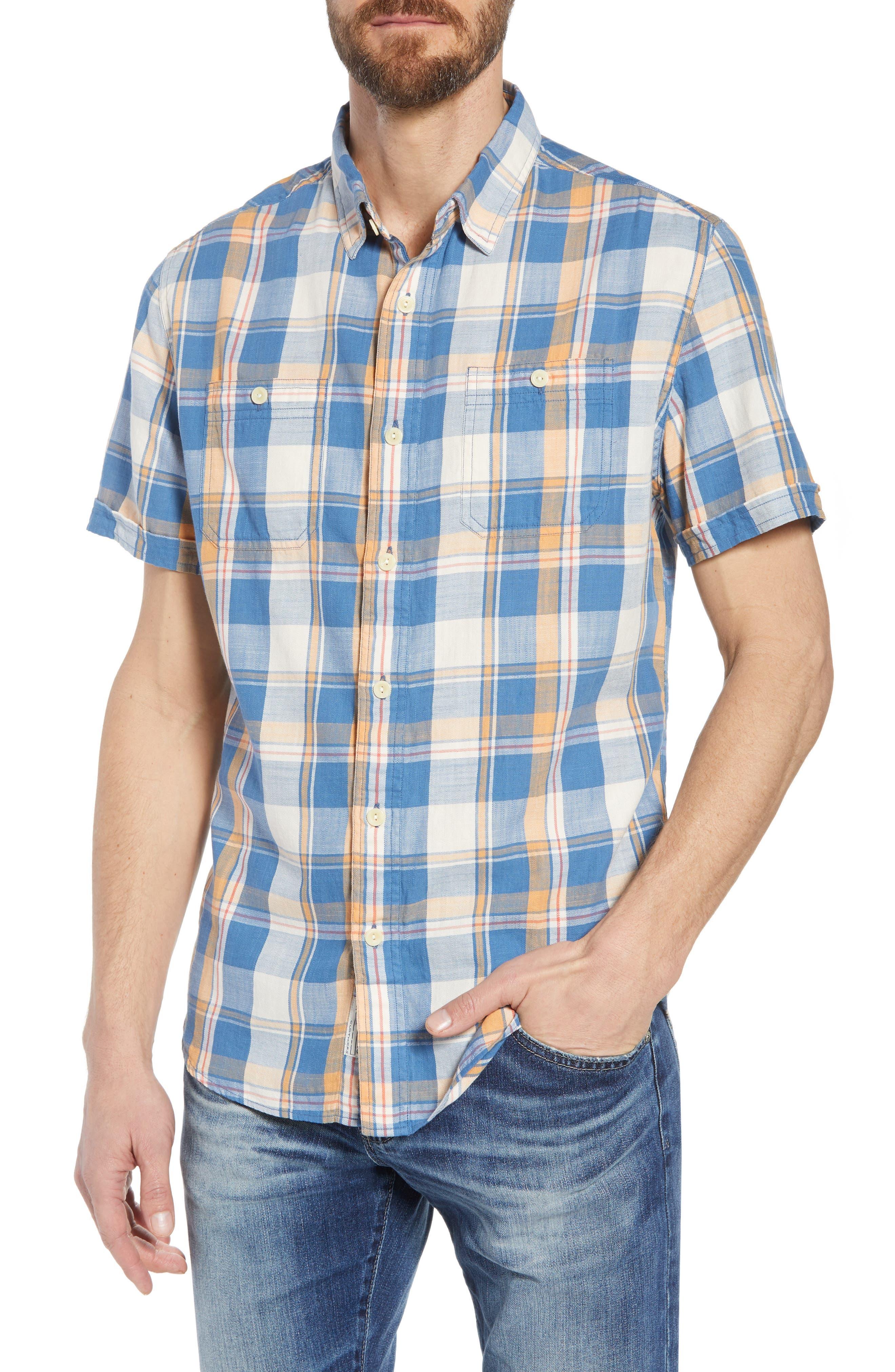 Sherman Plaid Slub Twill Sport Shirt,                             Main thumbnail 1, color,                             Blue Mustard Red
