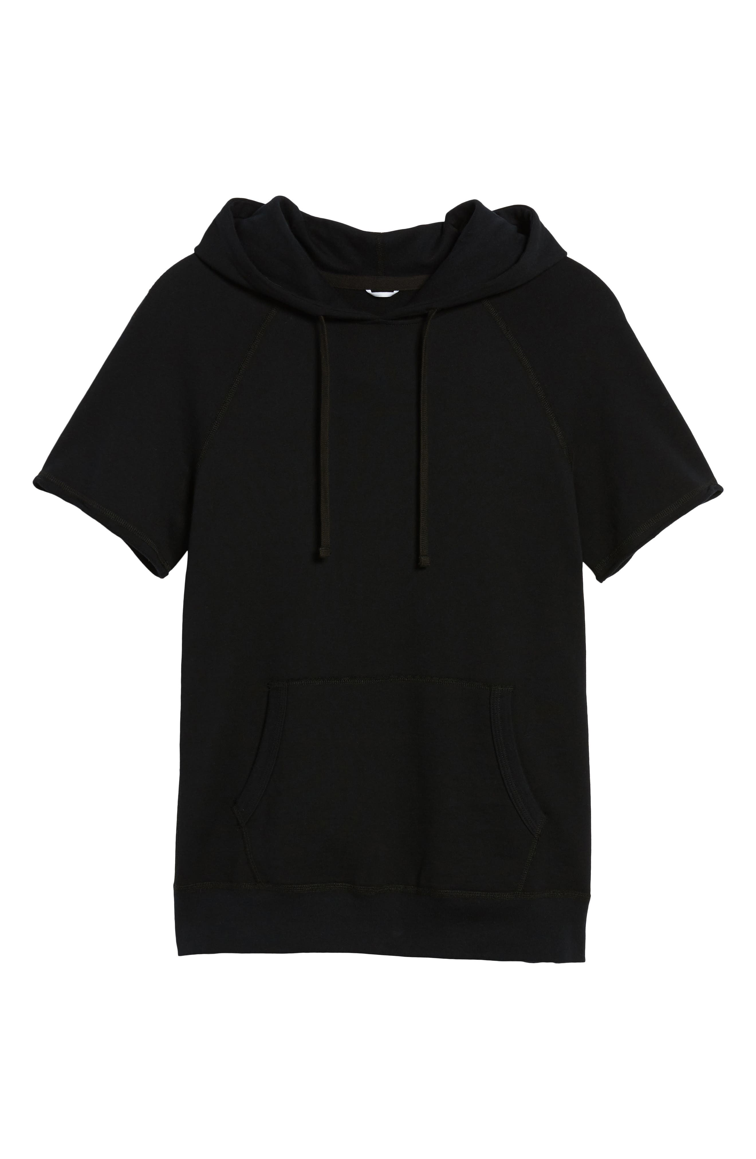Cutoff Hoodie,                             Alternate thumbnail 6, color,                             Black