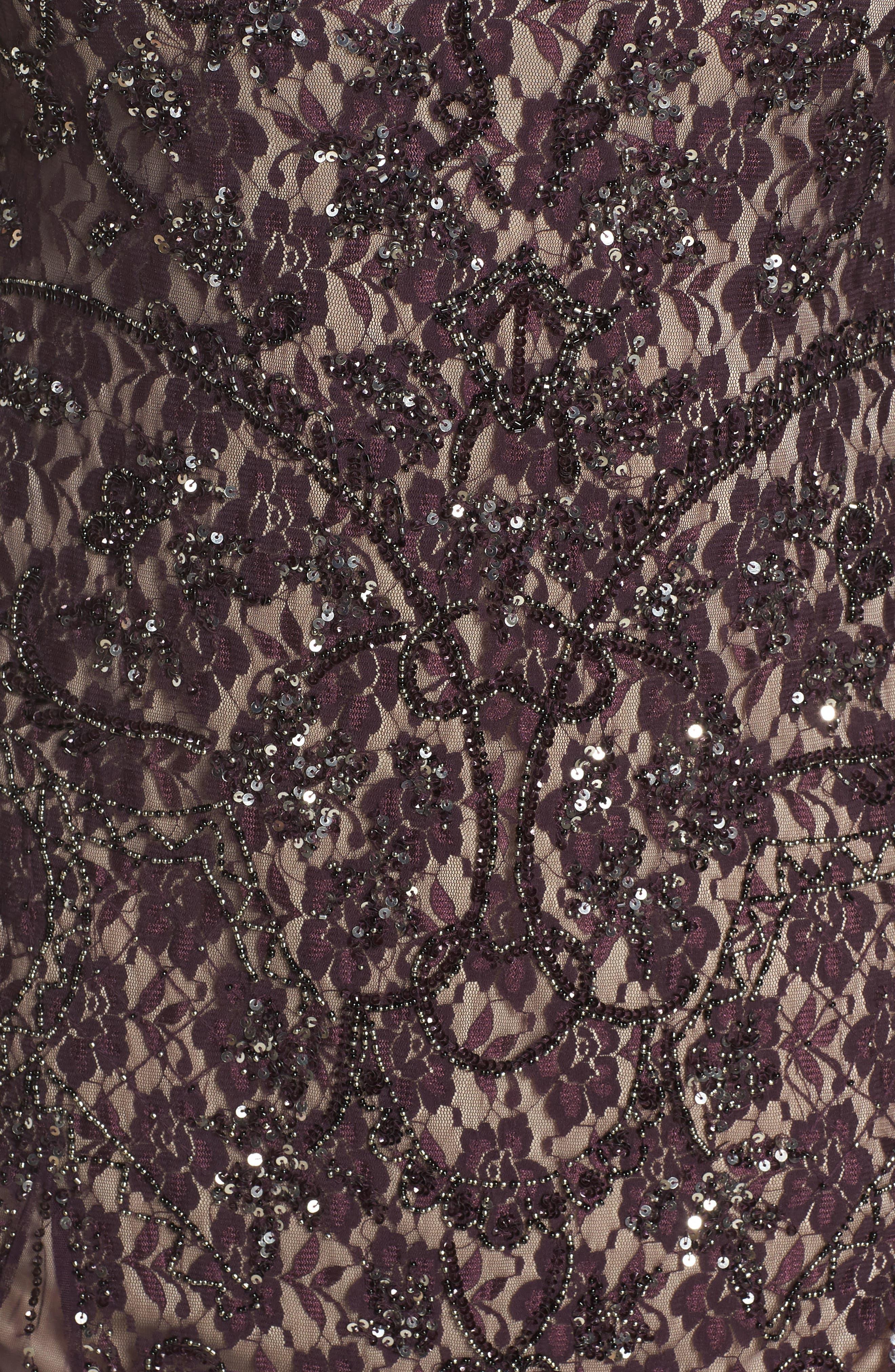Embellished Lace A-Line Dress,                             Alternate thumbnail 5, color,                             Plum