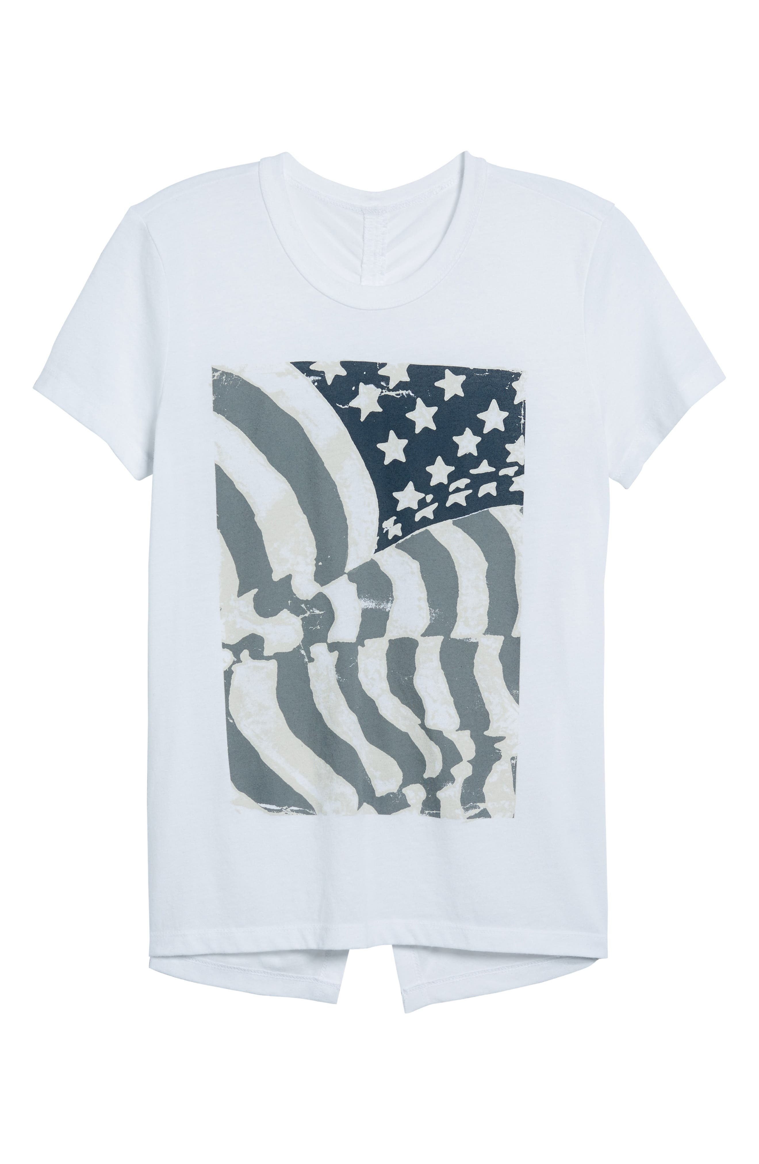 Ruched Back Flag Tee,                             Alternate thumbnail 7, color,                             Lucky White