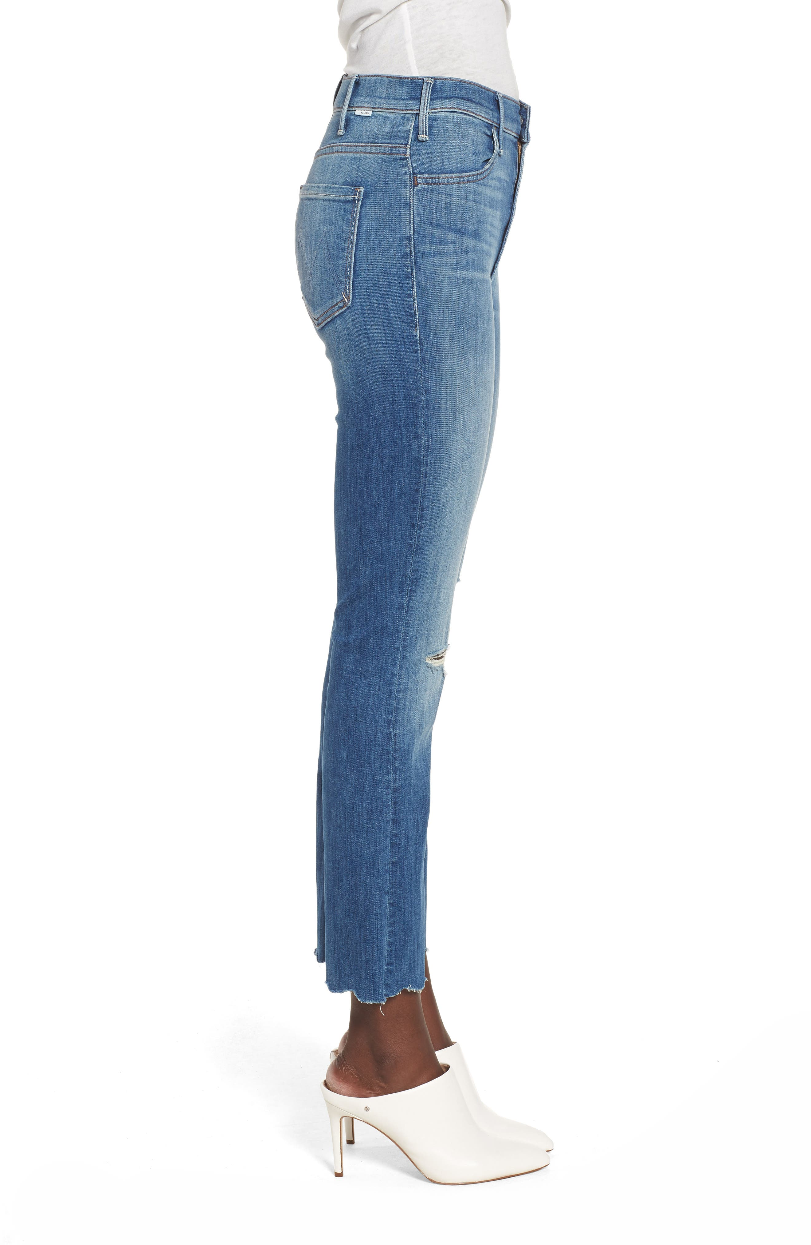 The Hustler High Waist Chew Hem Ankle Jeans,                             Alternate thumbnail 3, color,                             Mums The Word
